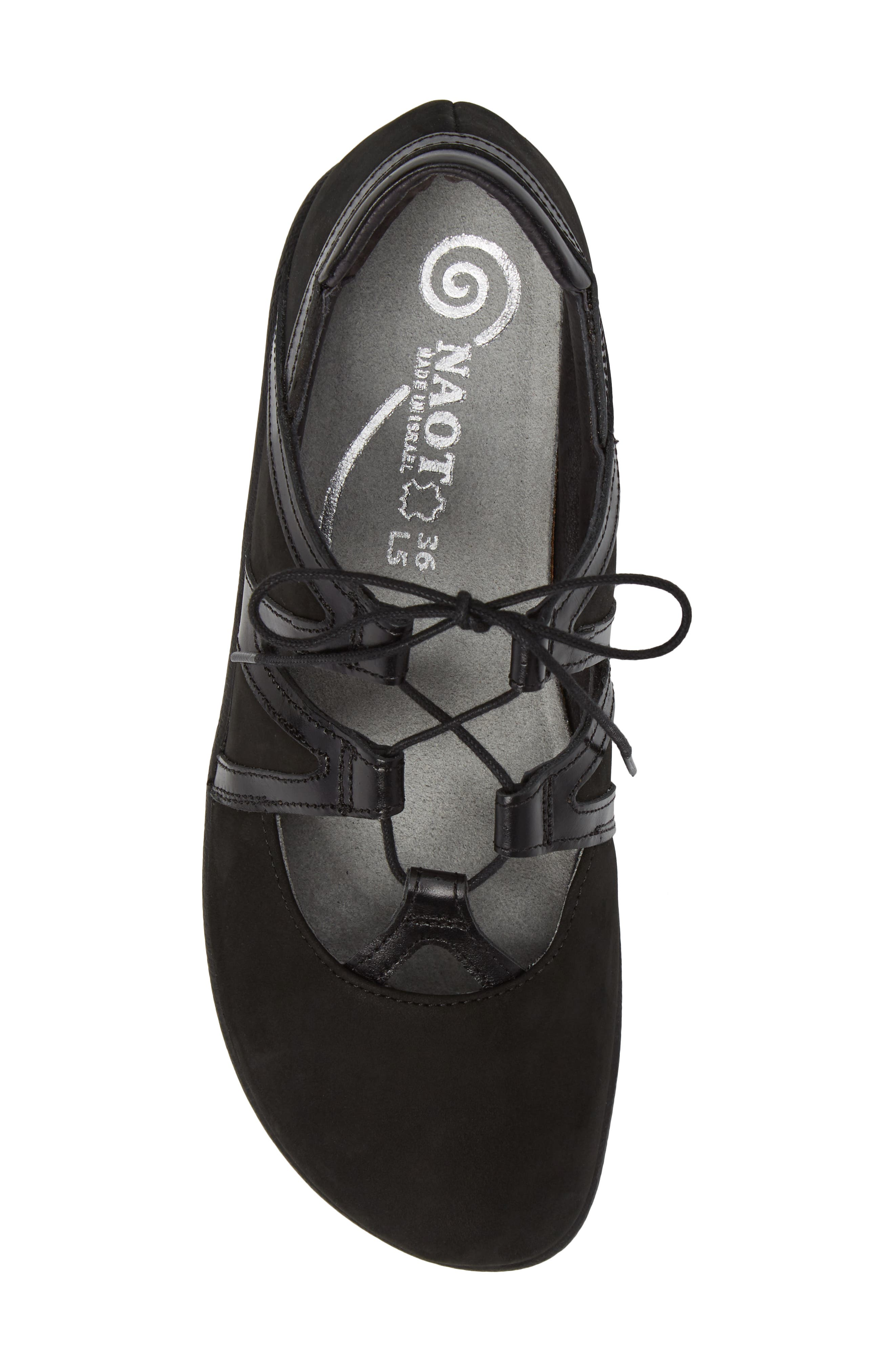 Timu Ghillie Lace Flat,                             Alternate thumbnail 5, color,                             BLACK MADRAS LEATHER