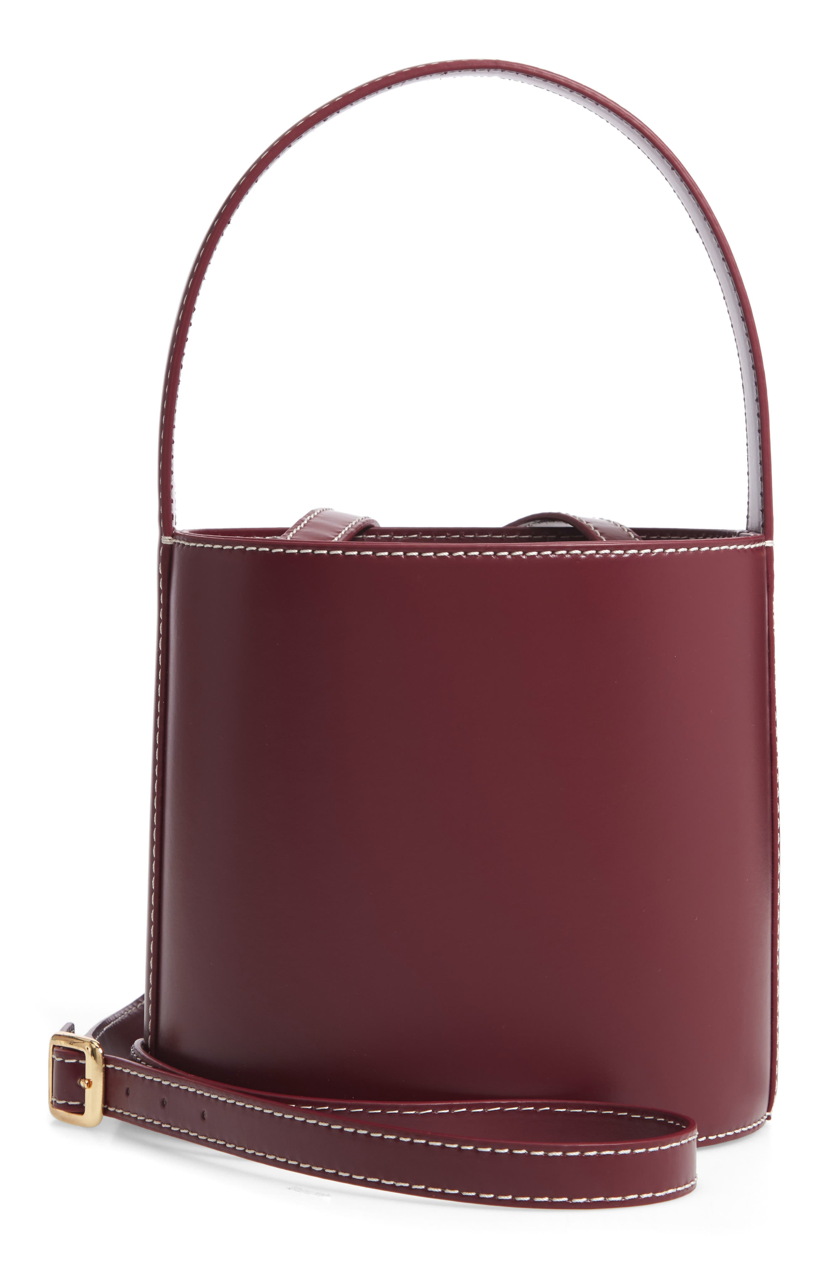 Bissett Leather Bucket Bag - Burgundy in Bordeux