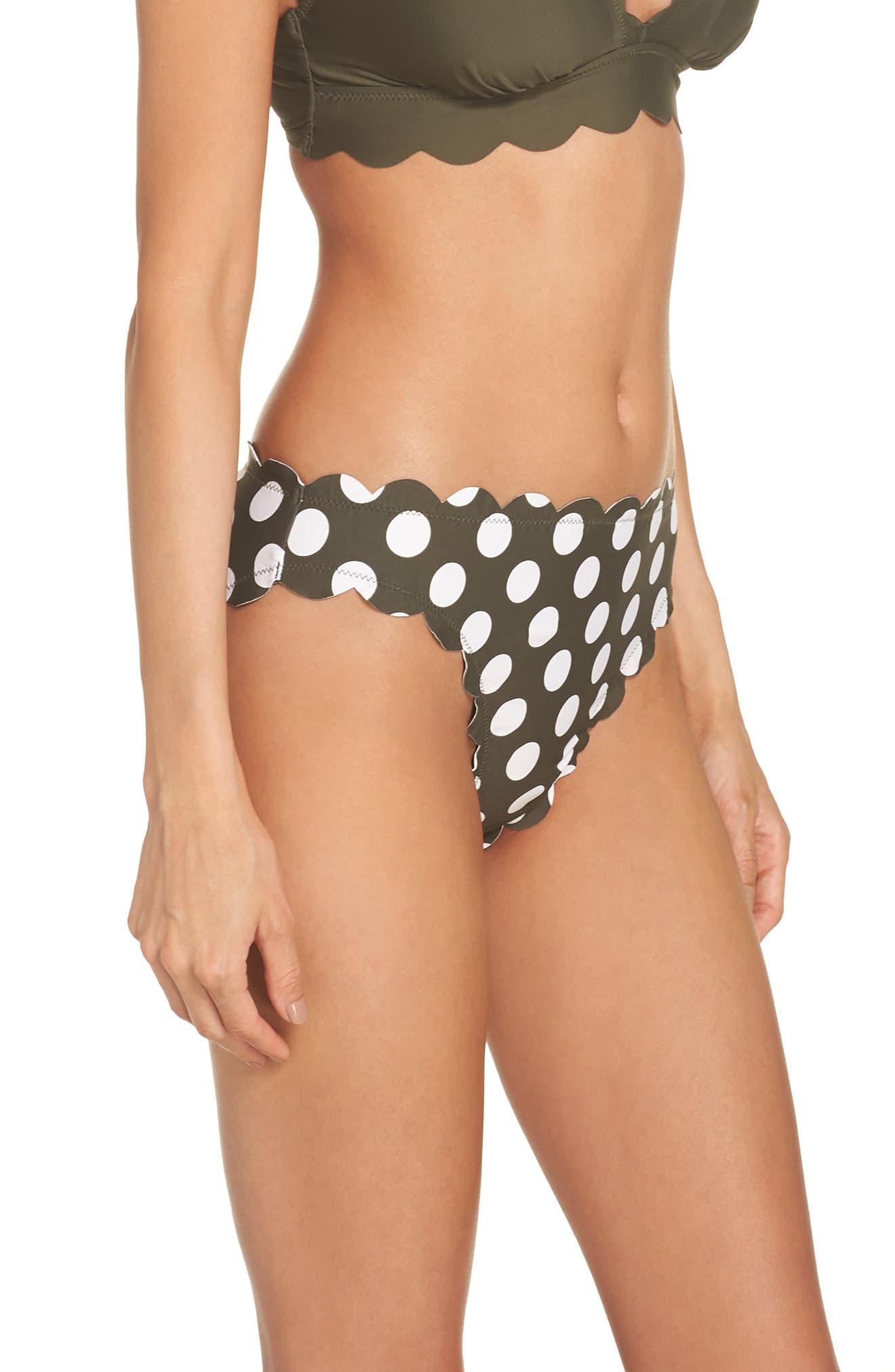 Scallop Hipster Bikini Bottoms,                             Alternate thumbnail 3, color,                             OLIVE SARMA/ IVORY EGRET DOT
