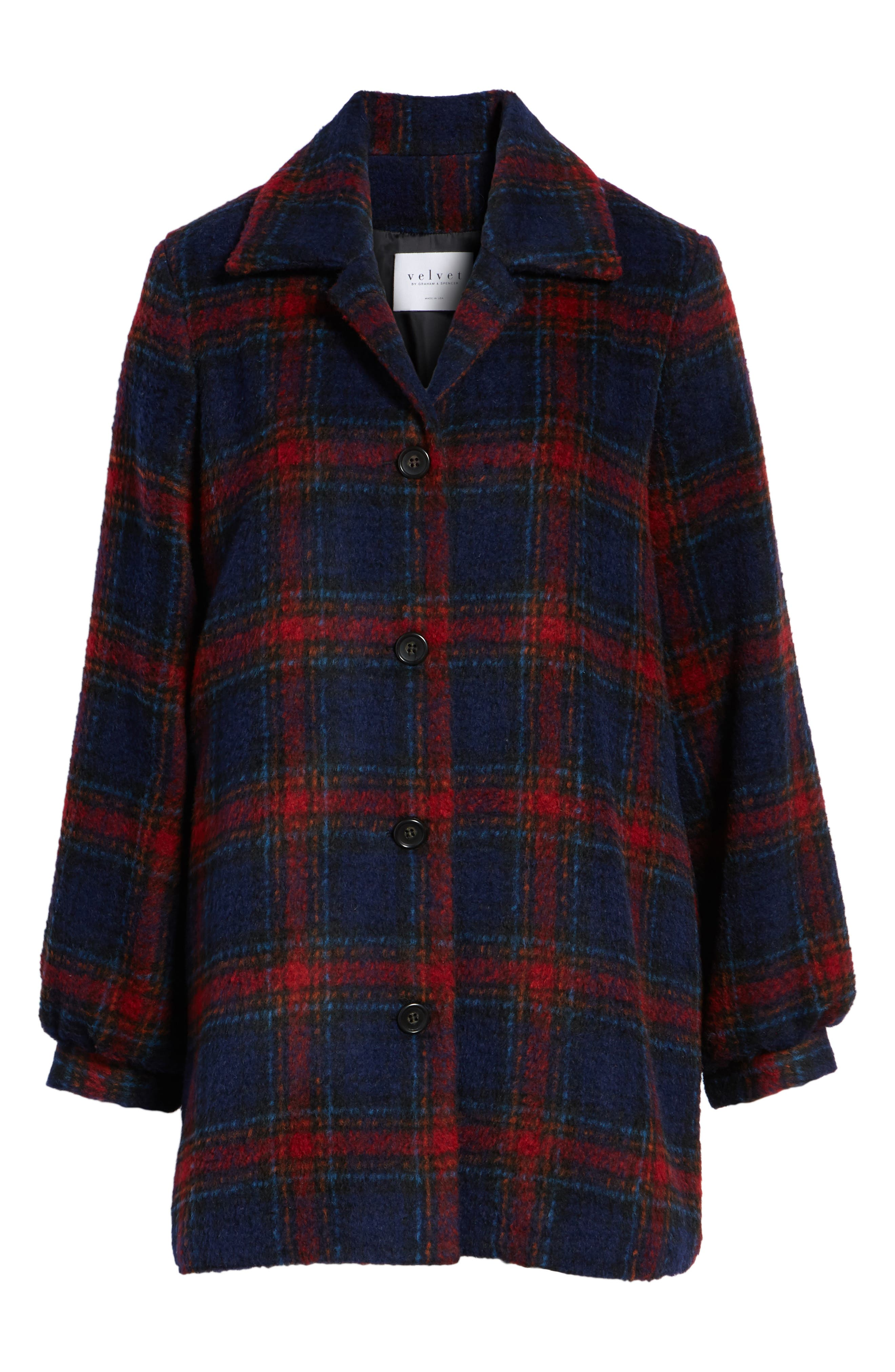 Plaid Wool Blend Jacket,                             Alternate thumbnail 6, color,                             MULTI