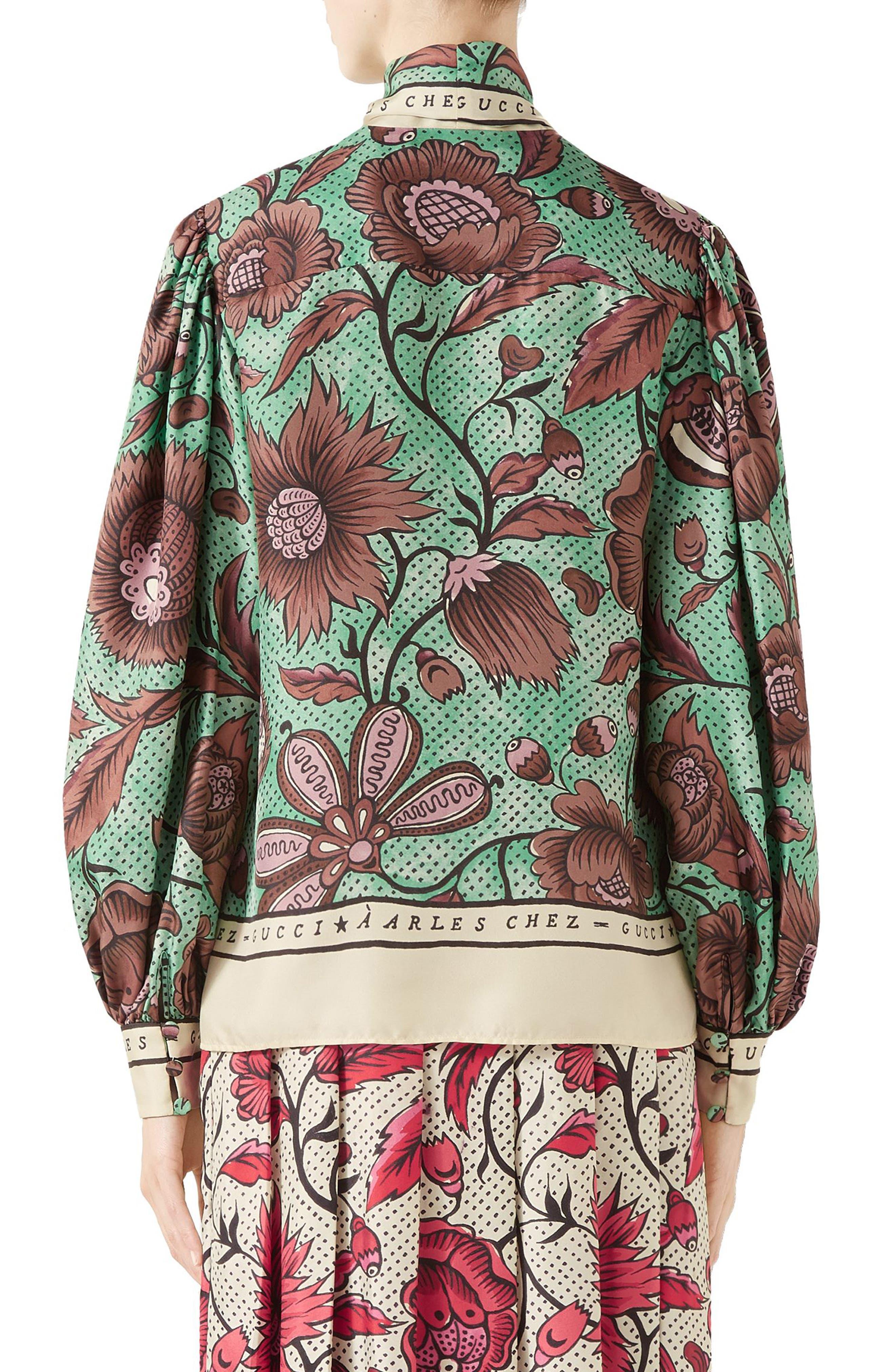 Watercolor Floral Print Tie Neck Silk Blouse,                             Alternate thumbnail 2, color,                             2125 BROWN/ GREEN PRINTED