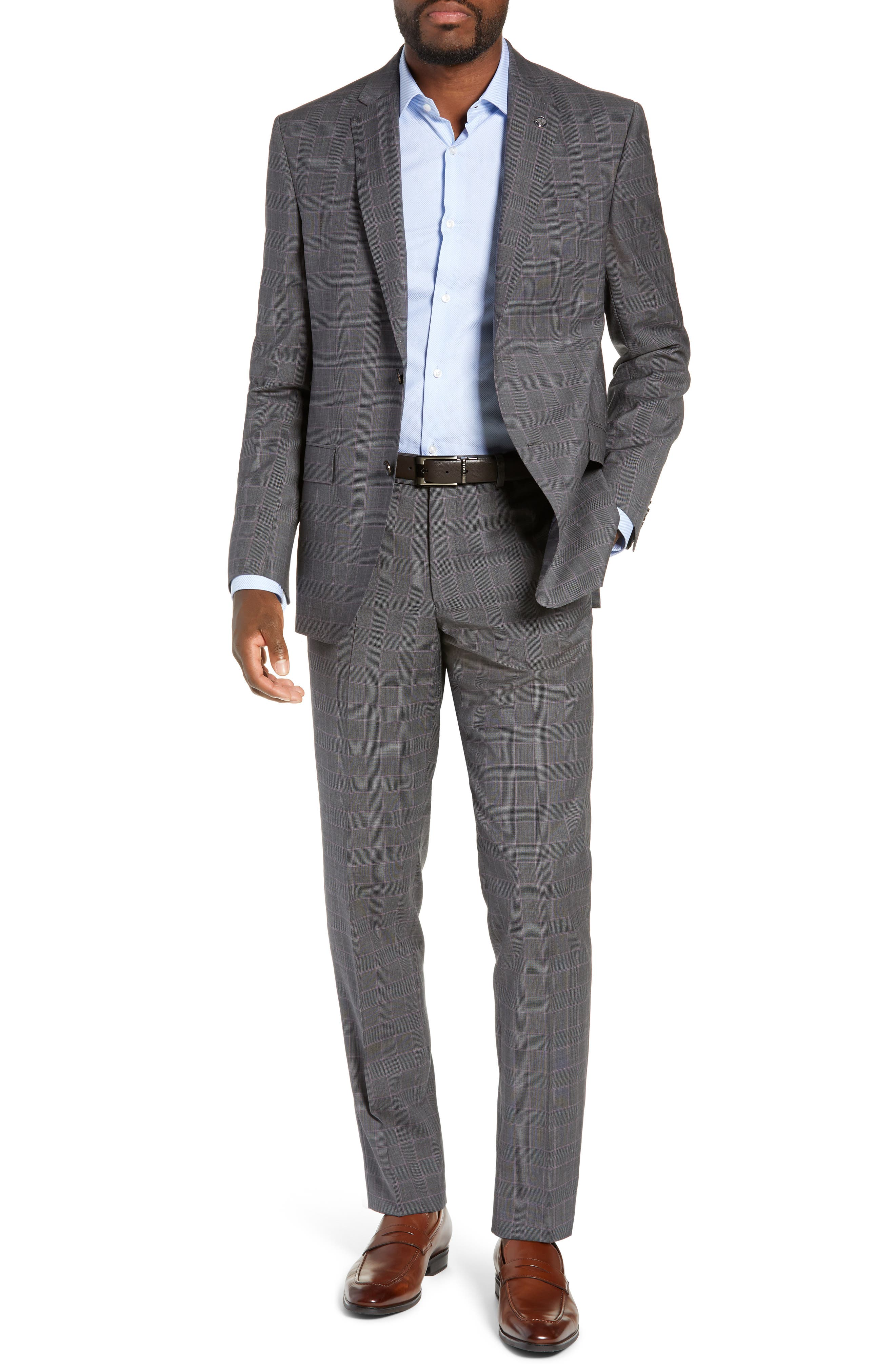 TED BAKER LONDON,                             Jay Trim Fit Plaid Wool Suit,                             Main thumbnail 1, color,                             GREY