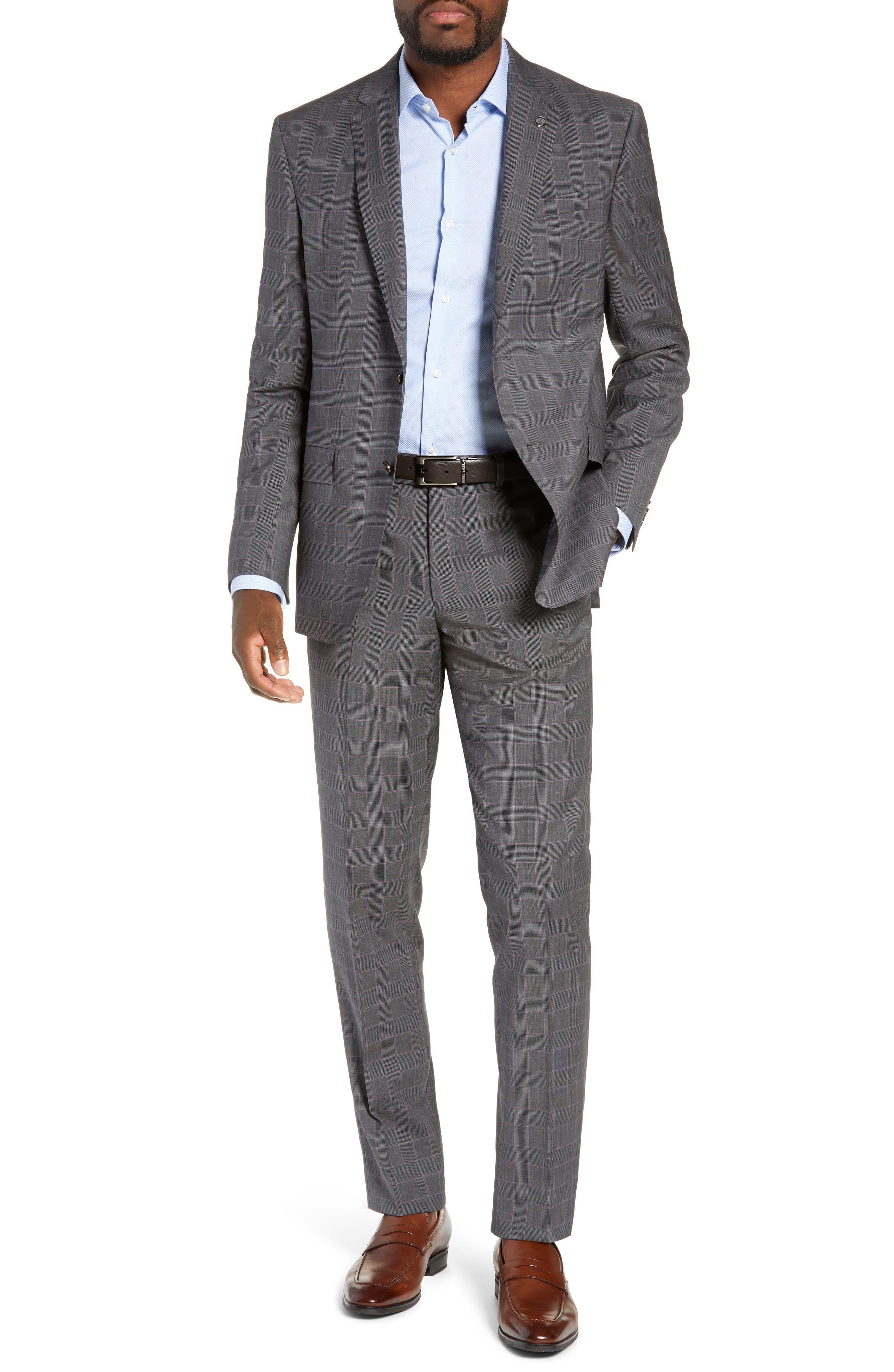 TED BAKER LONDON Jay Trim Fit Plaid Wool Suit, Main, color, GREY