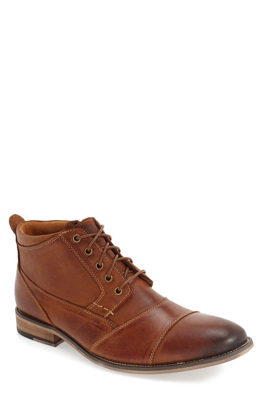 'Jabbar' Cap Toe Boot,                         Main,                         color, DARK TAN LEATHER