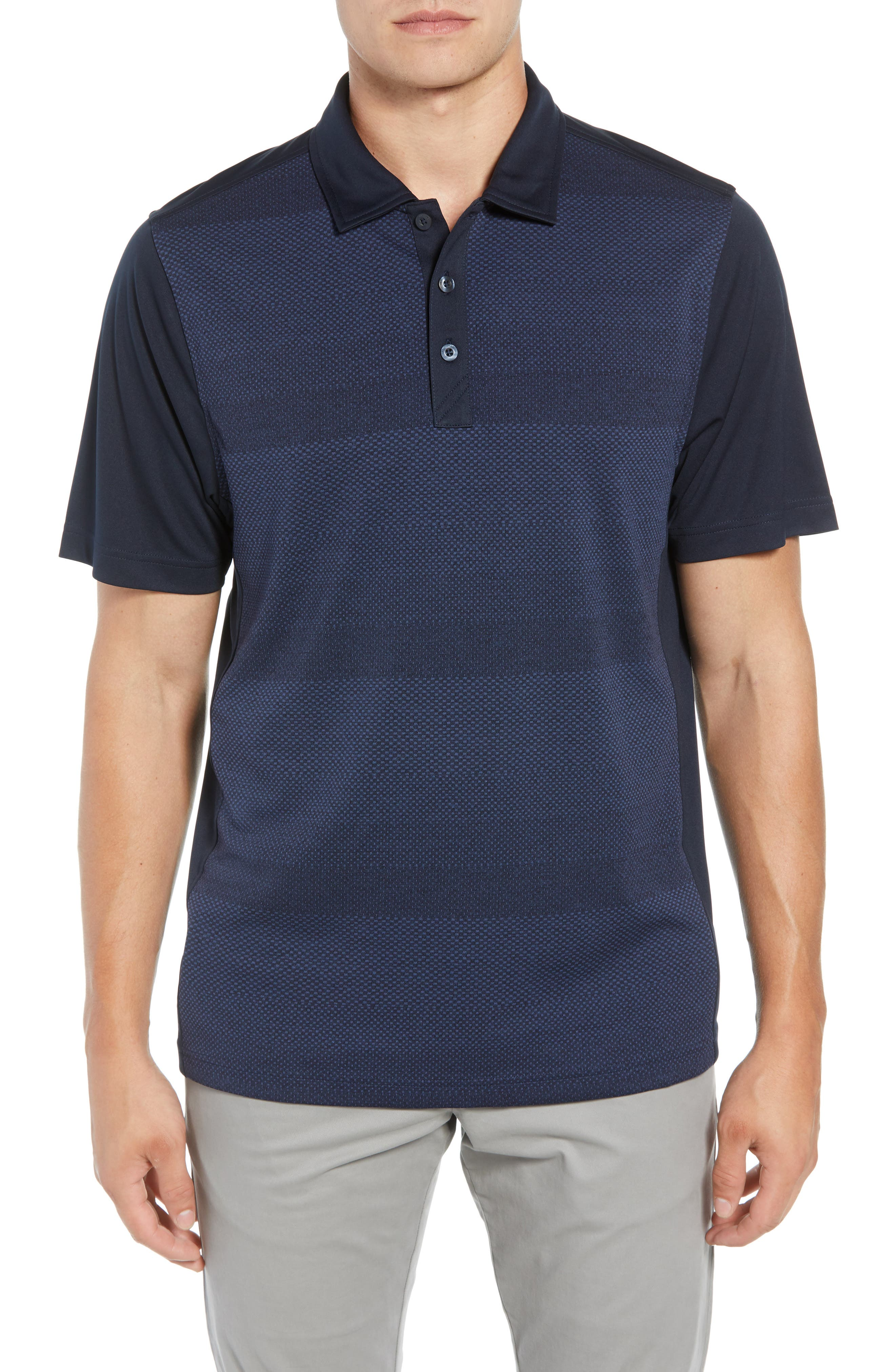 Crescent DryTec Microprint Polo,                             Main thumbnail 1, color,                             LIBERTY NAVY
