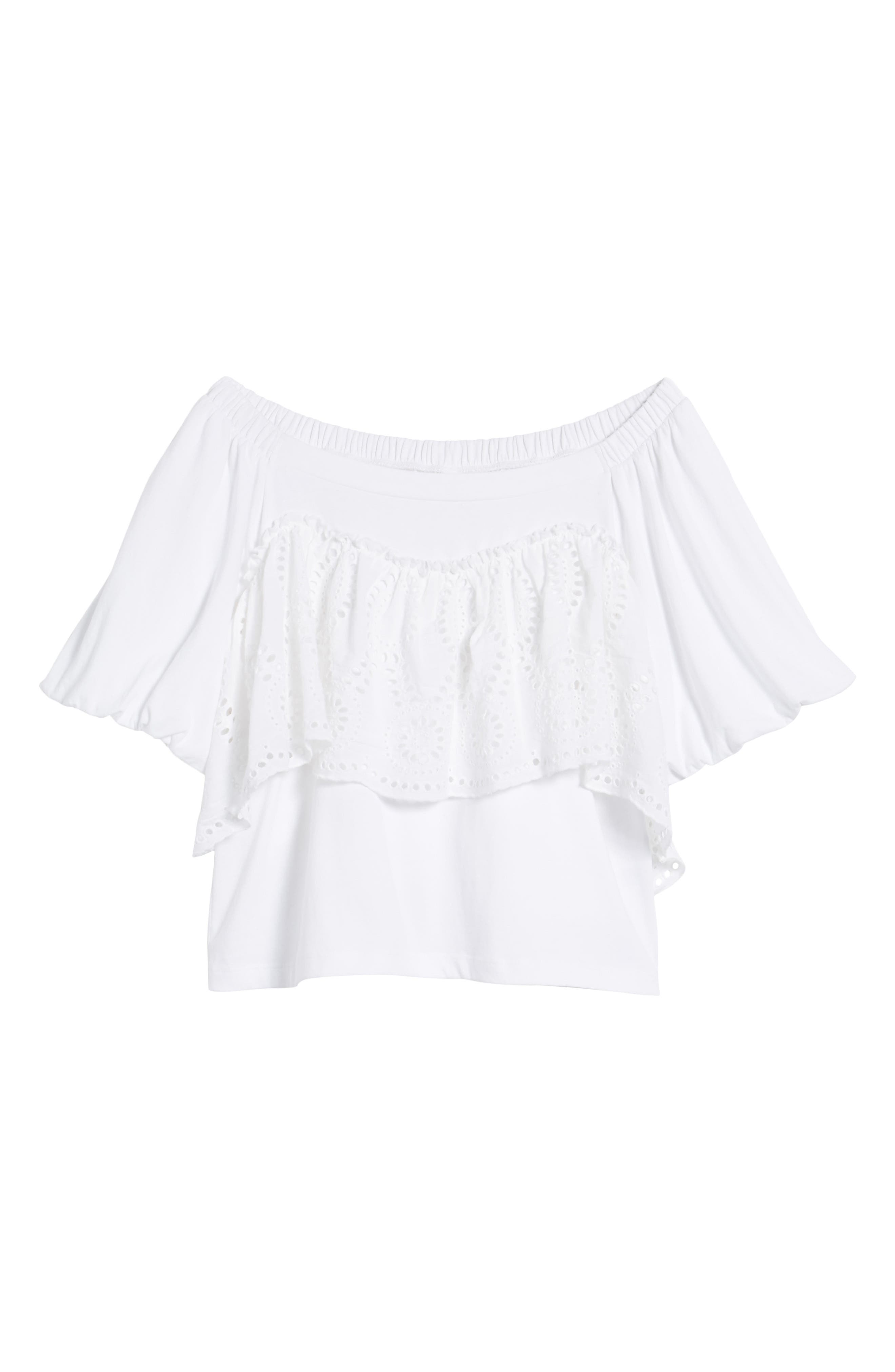 Eyelet Ruffle Off the Shoulder Top,                             Alternate thumbnail 6, color,                             100