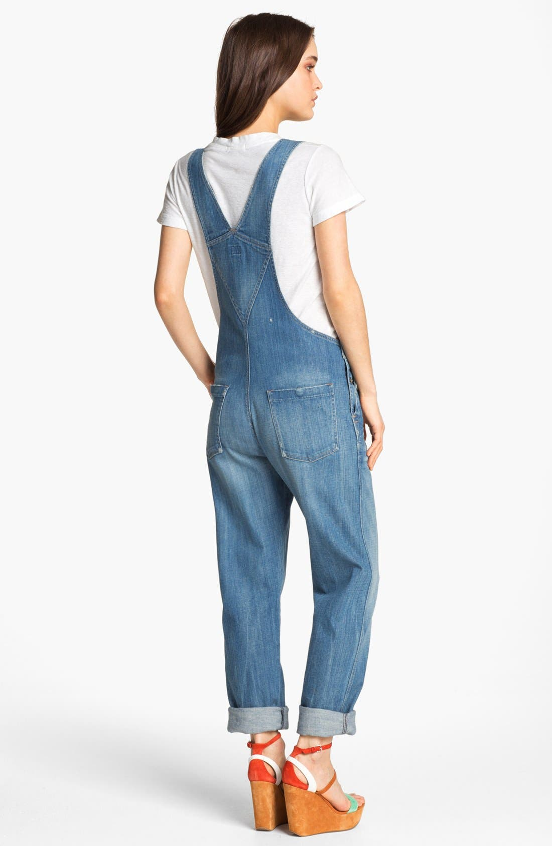 'Quincy' Stretch Denim Overalls,                             Alternate thumbnail 2, color,                             496
