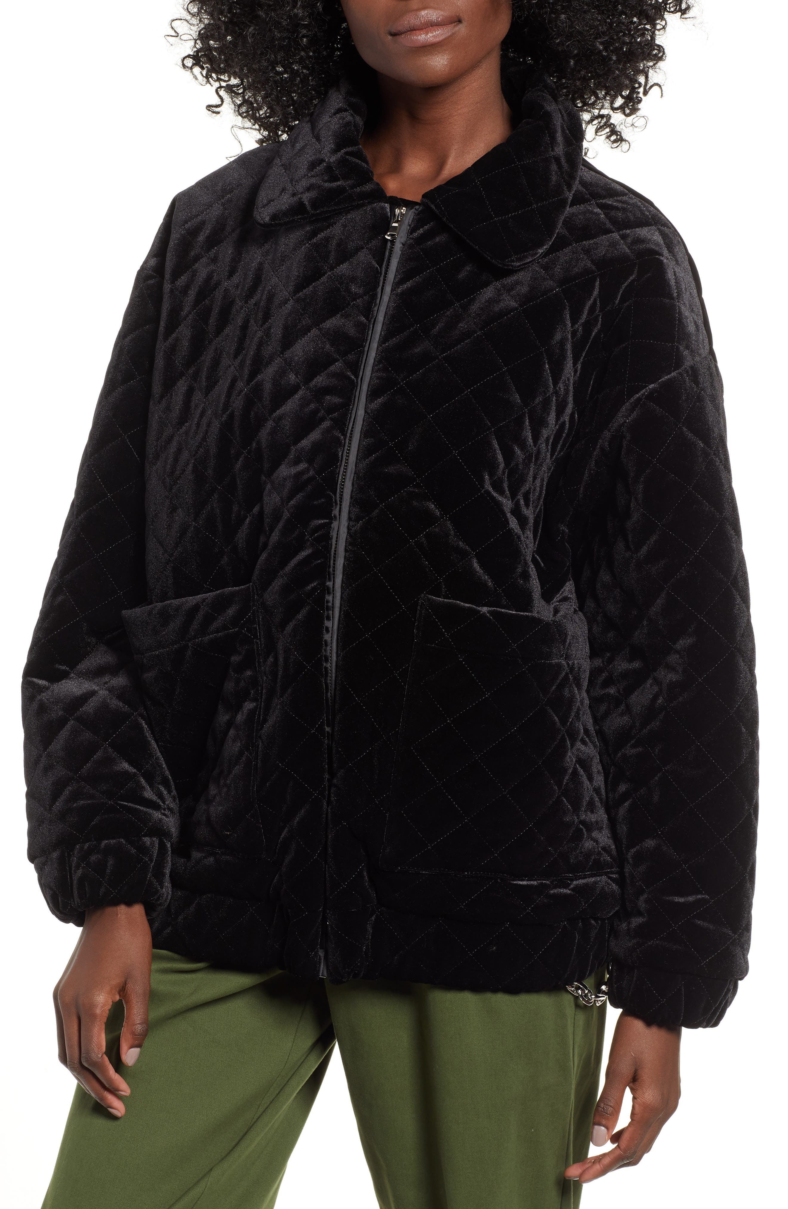 I.AM.GIA Contraband Quilted Velvet Jacket,                             Alternate thumbnail 4, color,                             BLACK