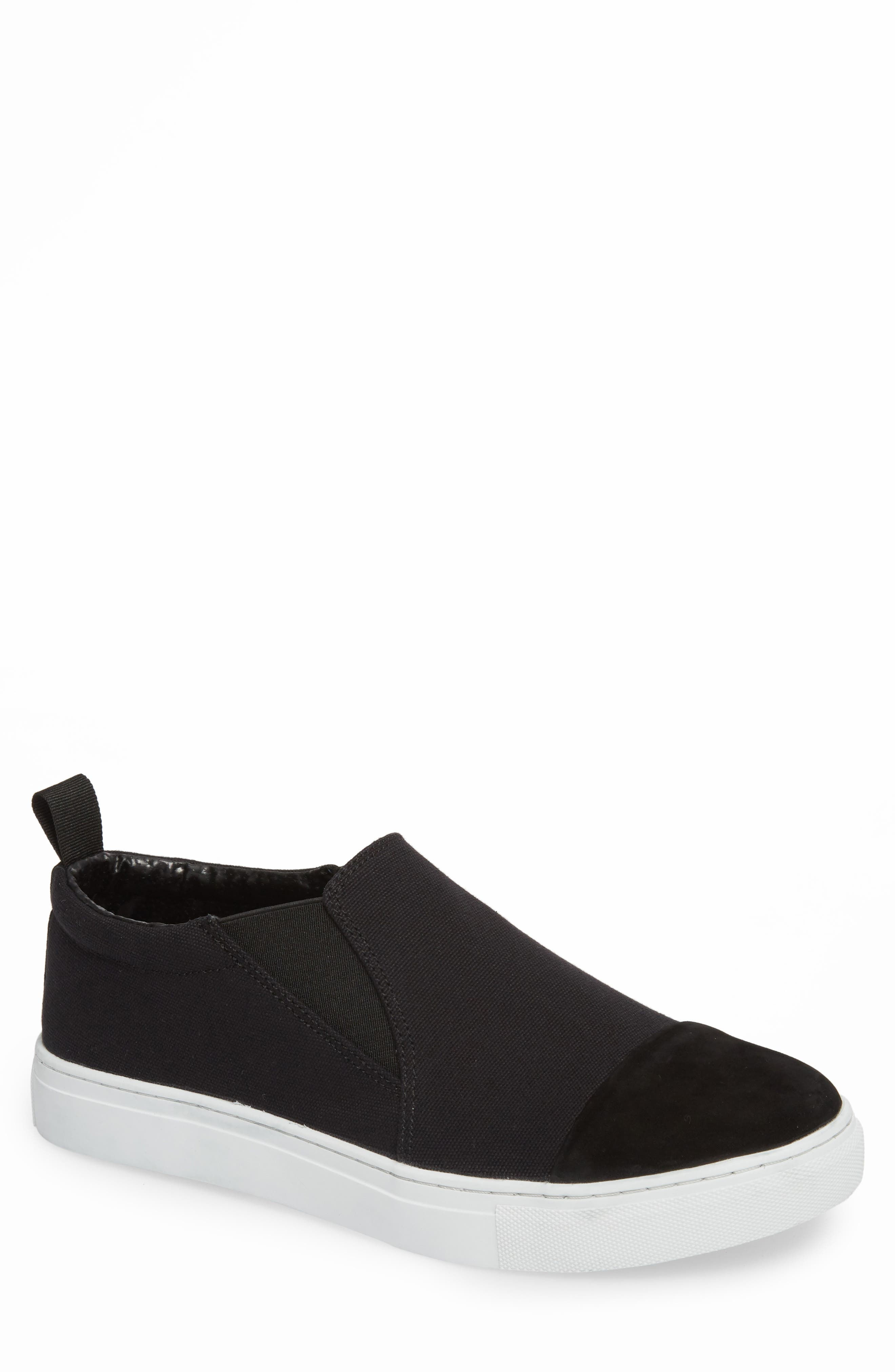 Canvas Suede Slider Slip-On Sneaker,                             Main thumbnail 1, color,                             001