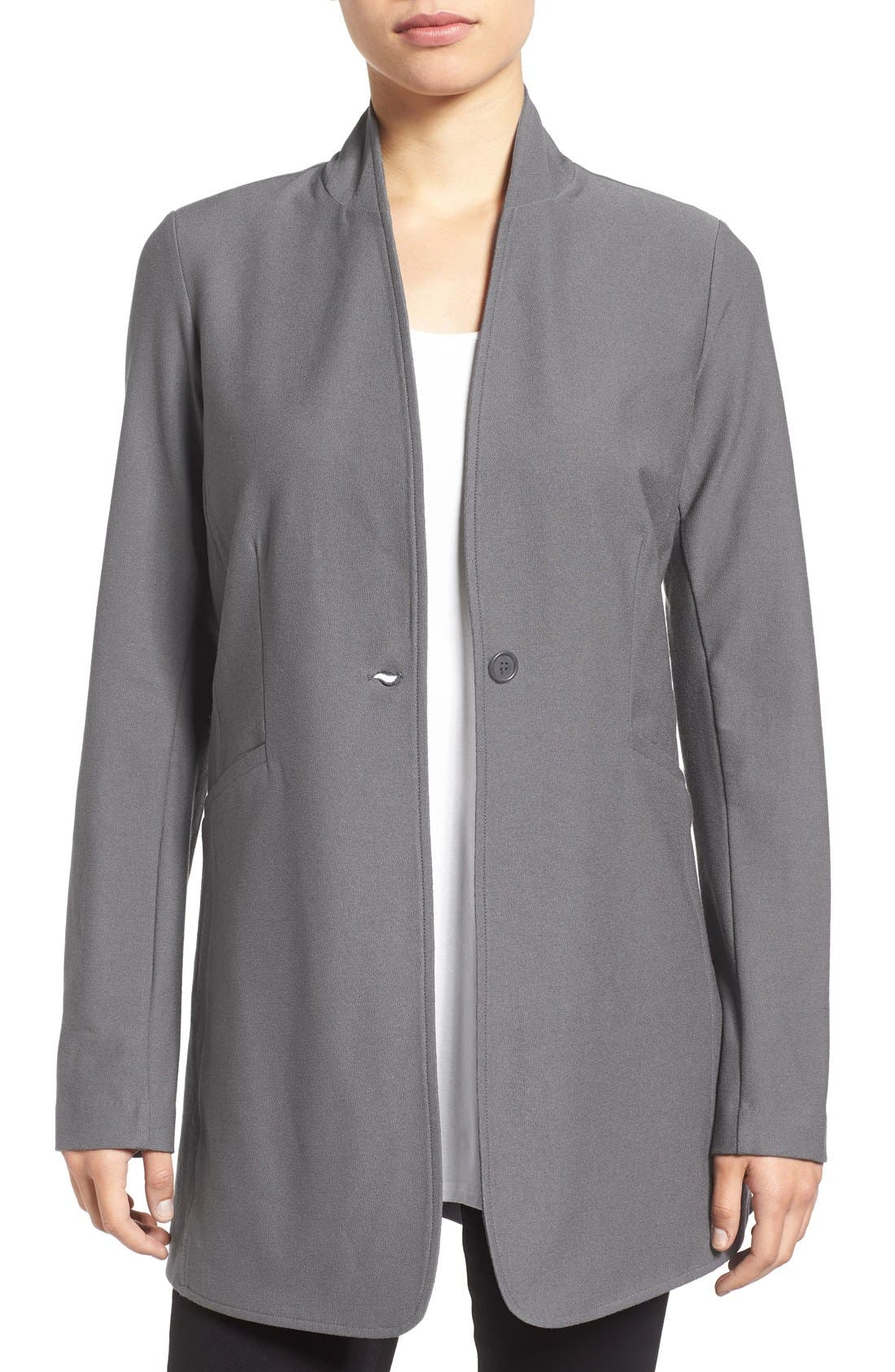 Washable Stretch Crepe Stand Collar Jacket,                             Main thumbnail 3, color,