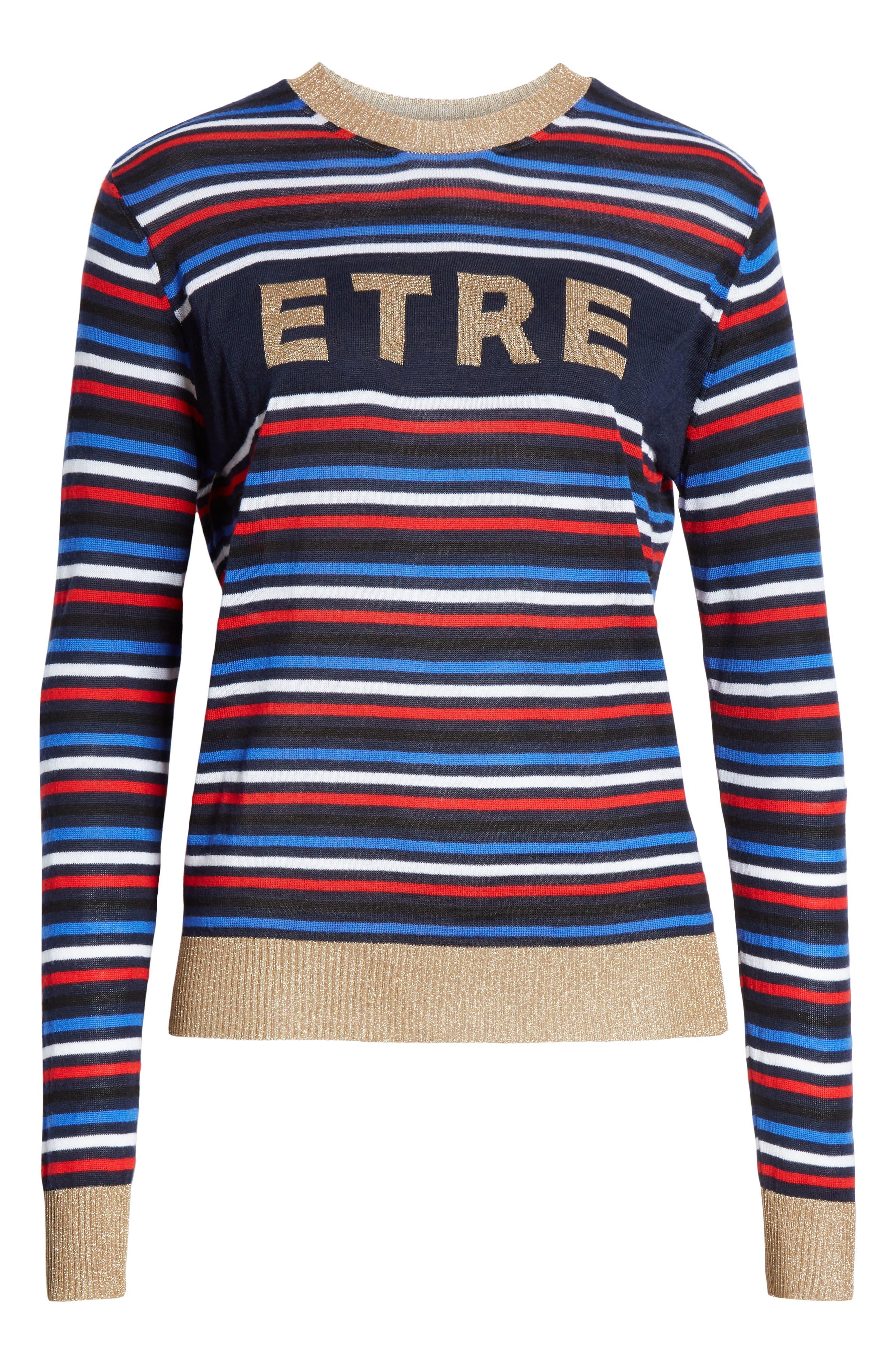 Stripe Knit Boyfriend Sweater,                             Alternate thumbnail 6, color,                             NAVY MULTI STRIPE
