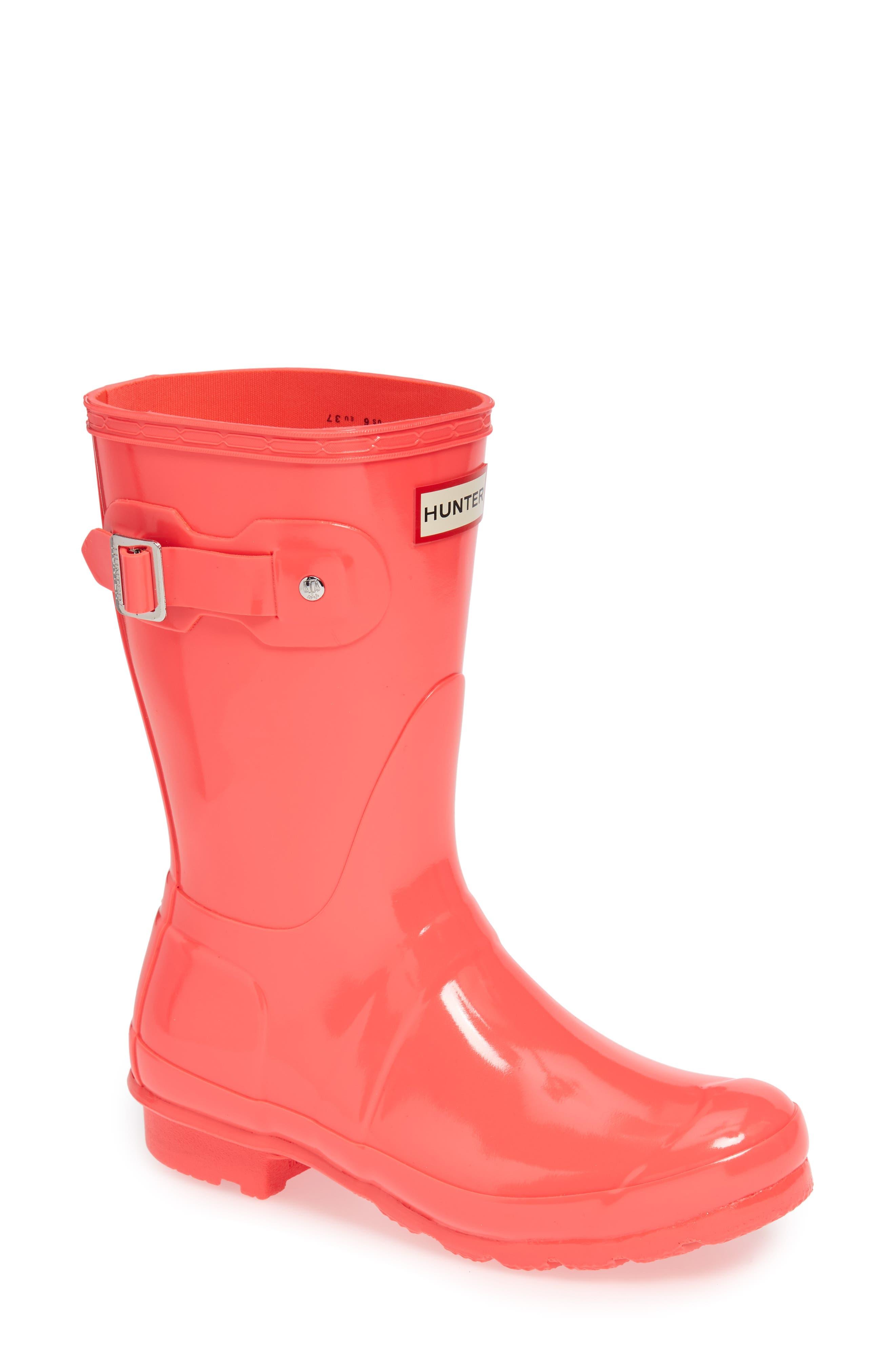 Original Short Gloss Waterproof Rain Boot,                         Main,                         color, HYPER PINK