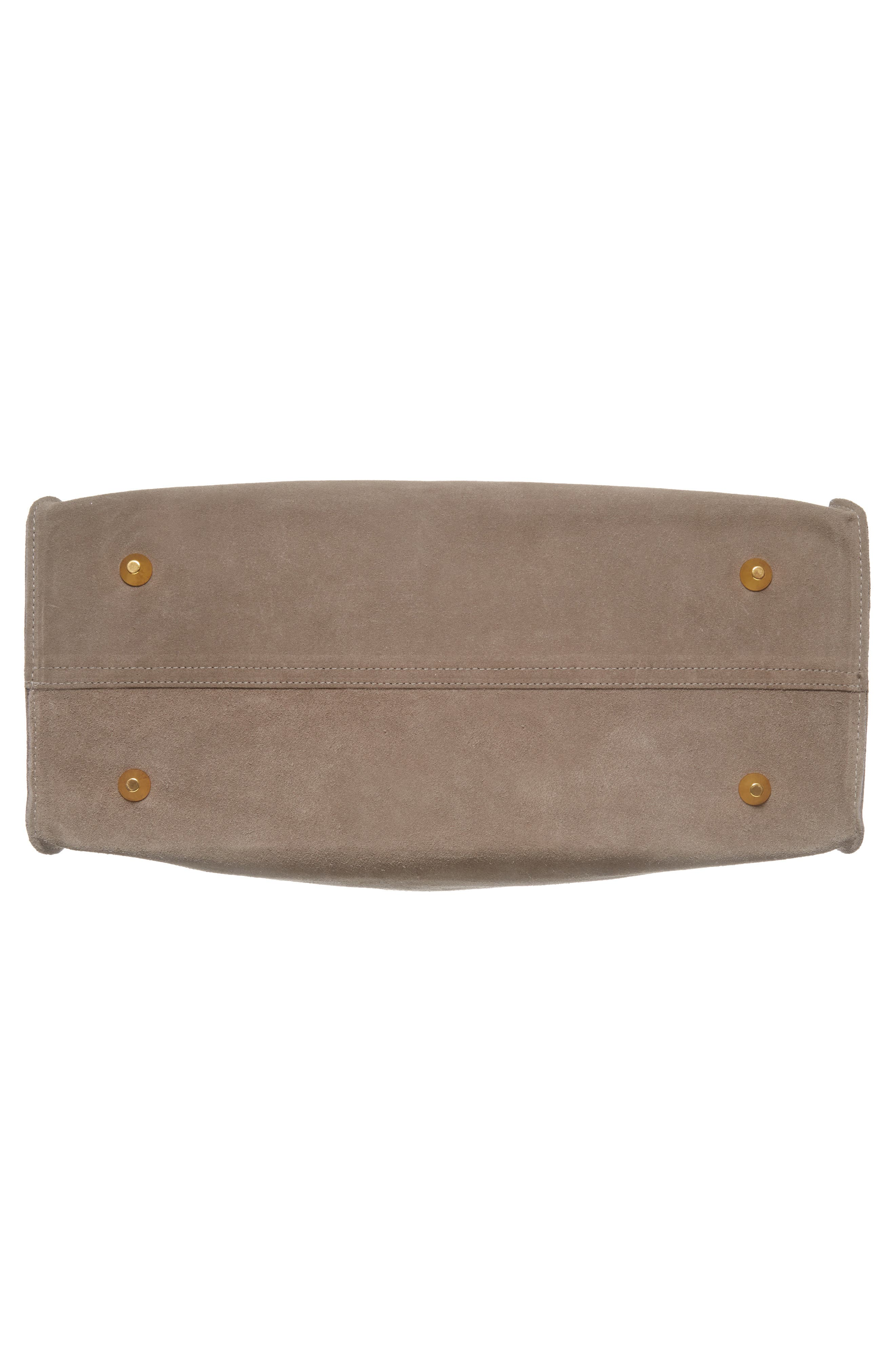 Simple Suede Tote,                             Alternate thumbnail 7, color,                             TAUPE/ YELLOW RUSTIC