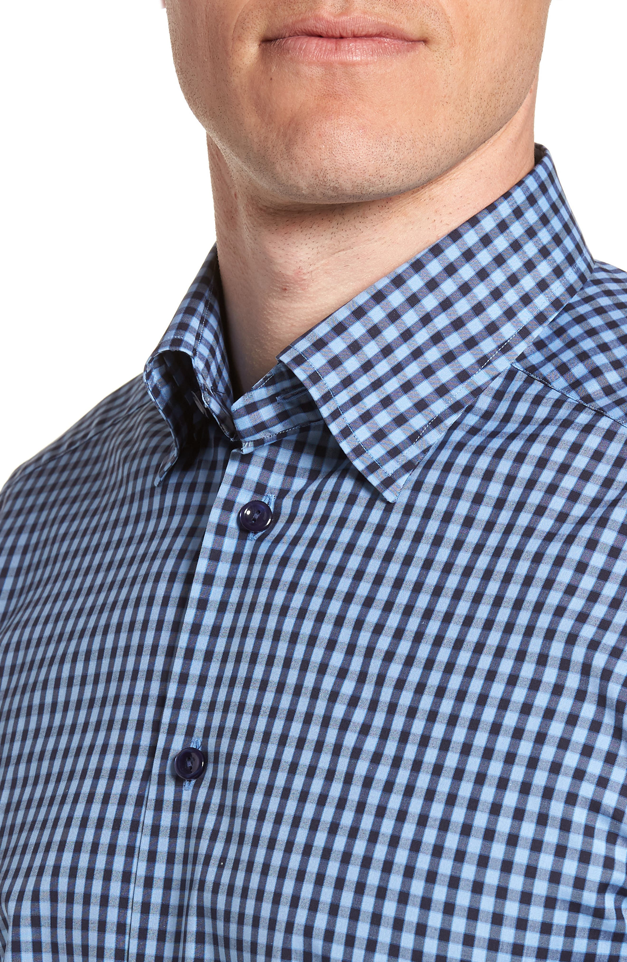 Contemporary Fit Check Dress Shirt,                             Alternate thumbnail 2, color,                             NAVY