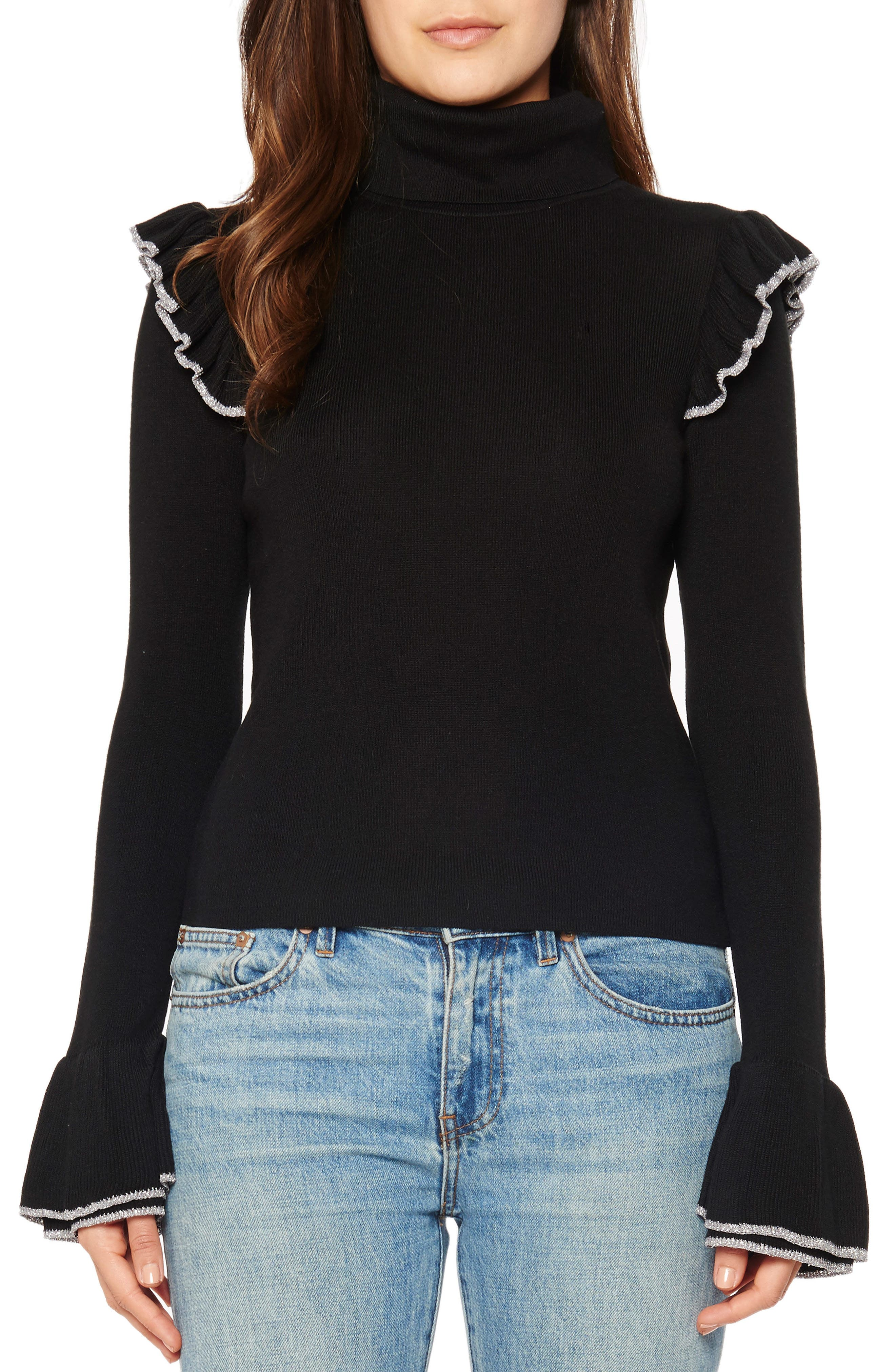 Ruffle Bell Sleeve Turtleneck,                         Main,                         color,