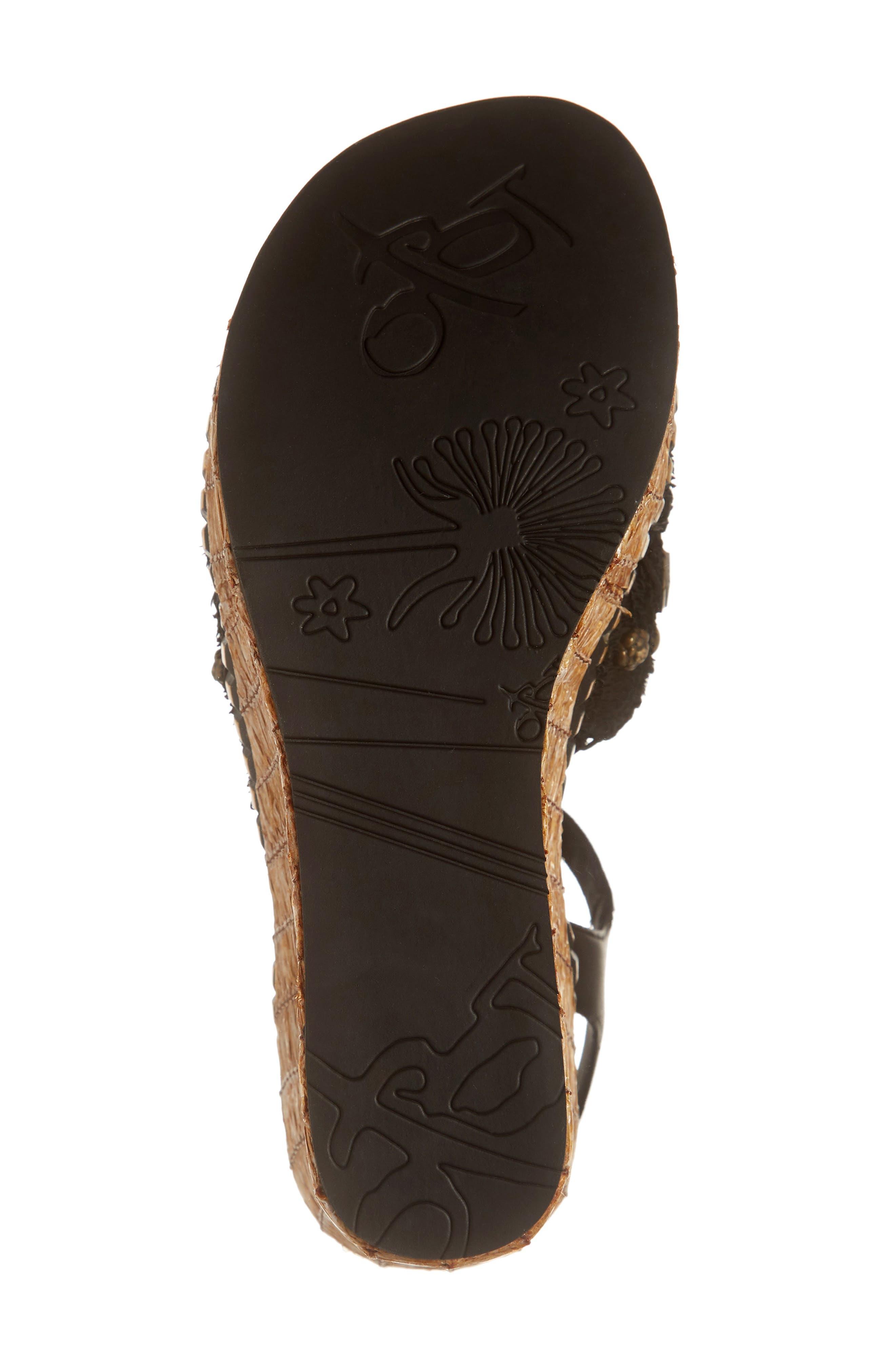 Cahoot Embellished Platform Wedge Sandal,                             Alternate thumbnail 6, color,                             BLACK LEATHER