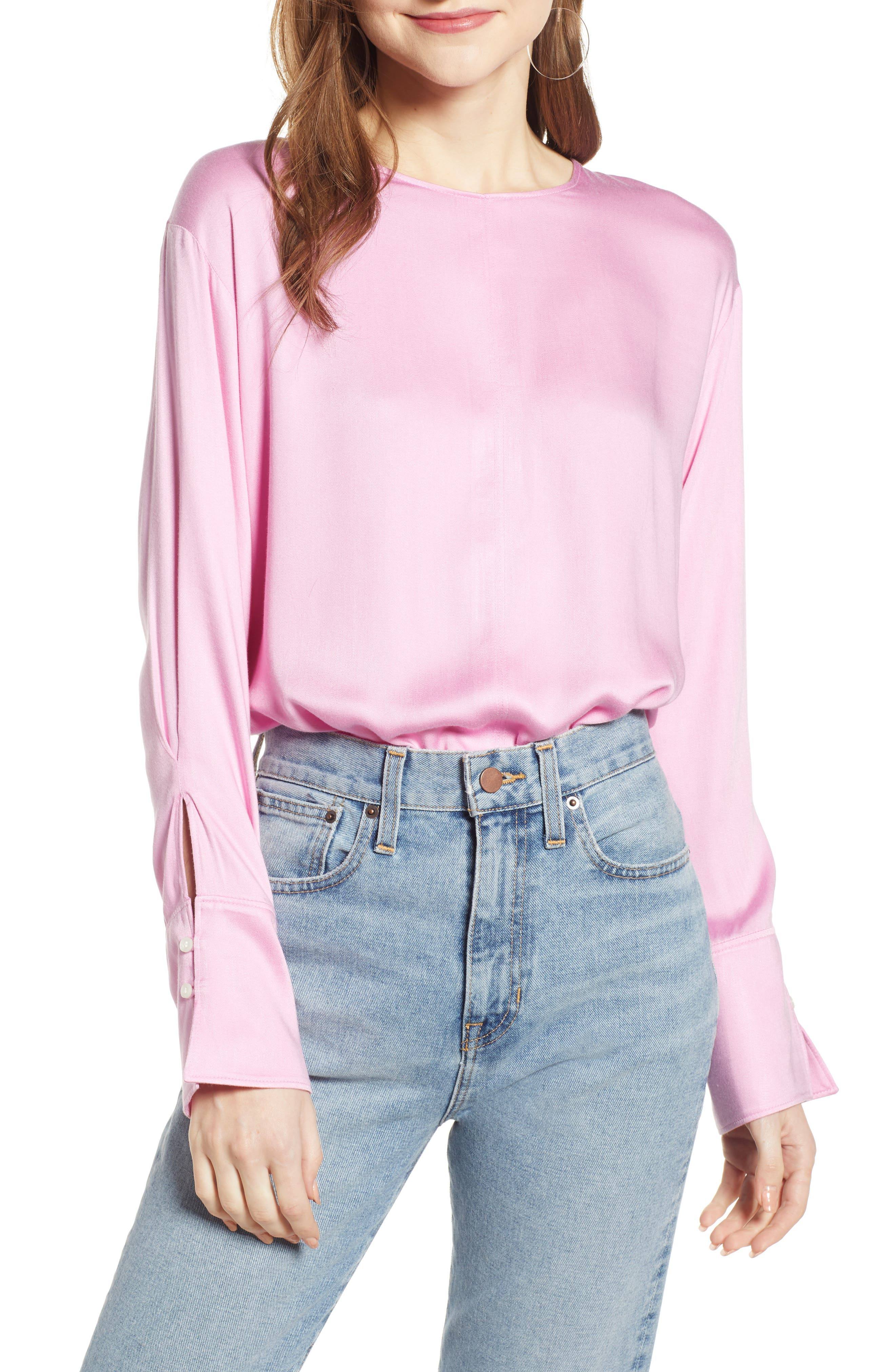 SOMETHING NAVY Easy Woven Top, Main, color, PINK CHIFFON