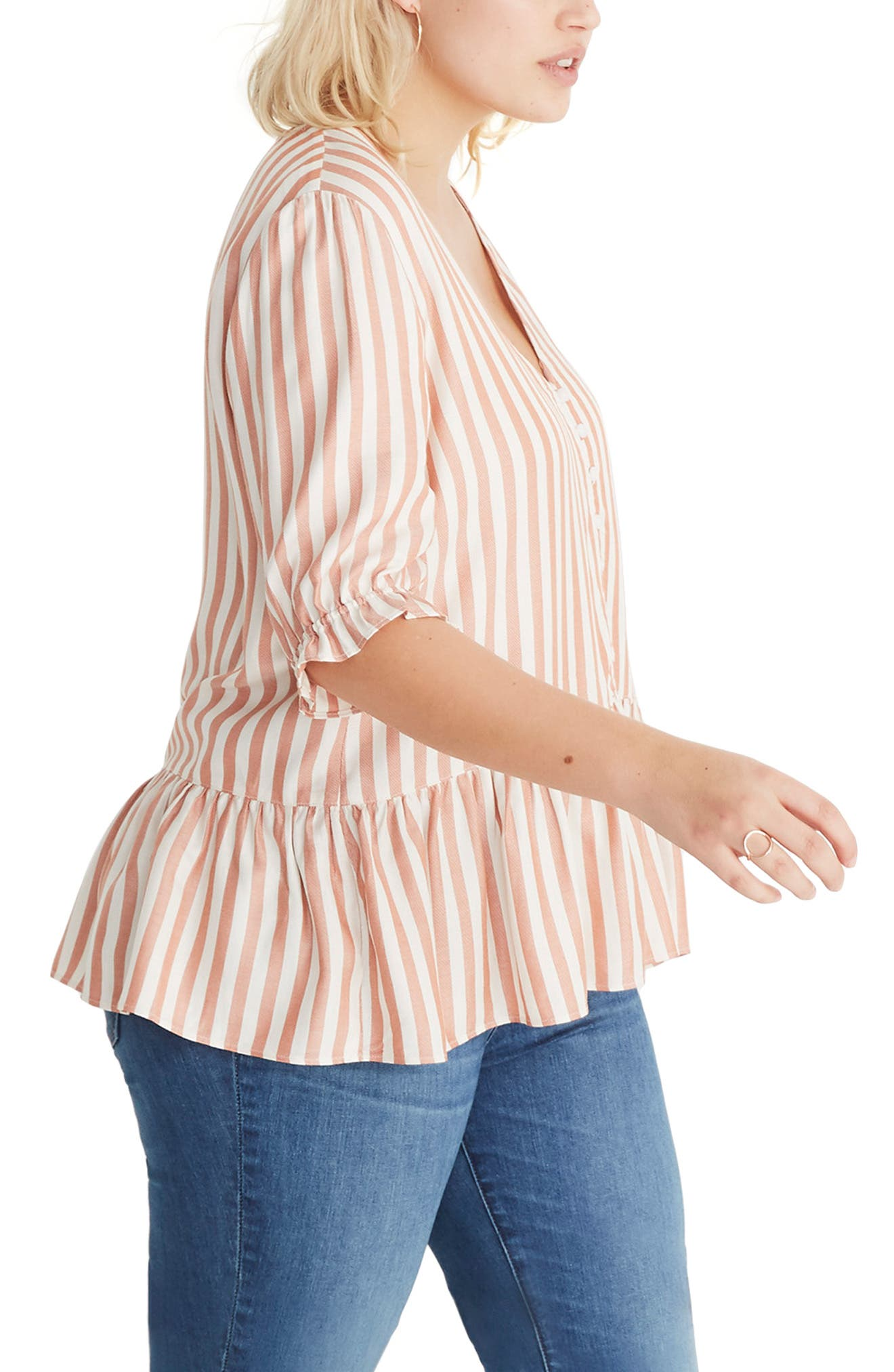 MADEWELL,                             Courtyard Ruffle Hem Top,                             Alternate thumbnail 6, color,                             STRIPE