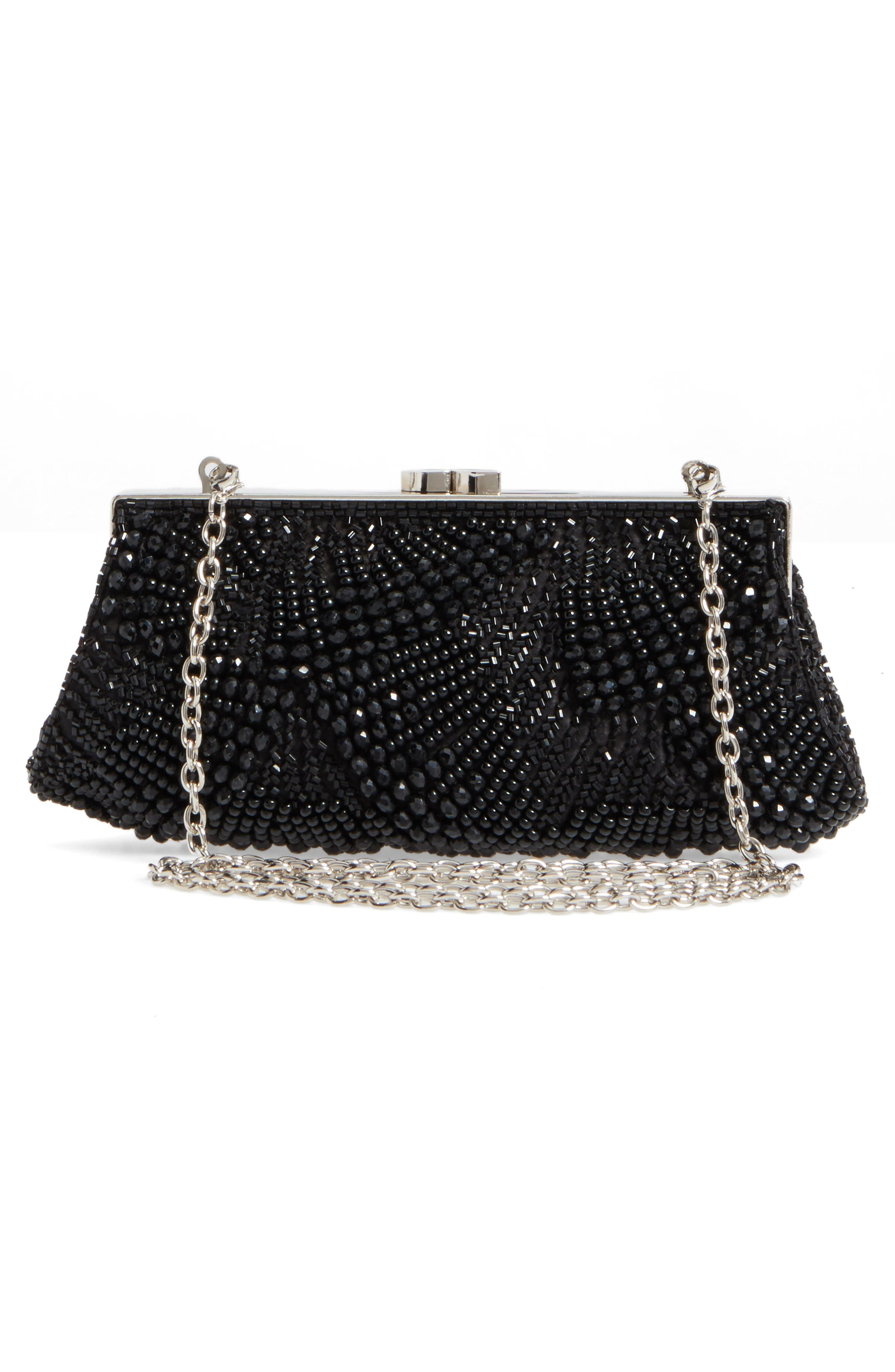 Faceted Fan Beaded Evening Clutch,                             Alternate thumbnail 3, color,                             001