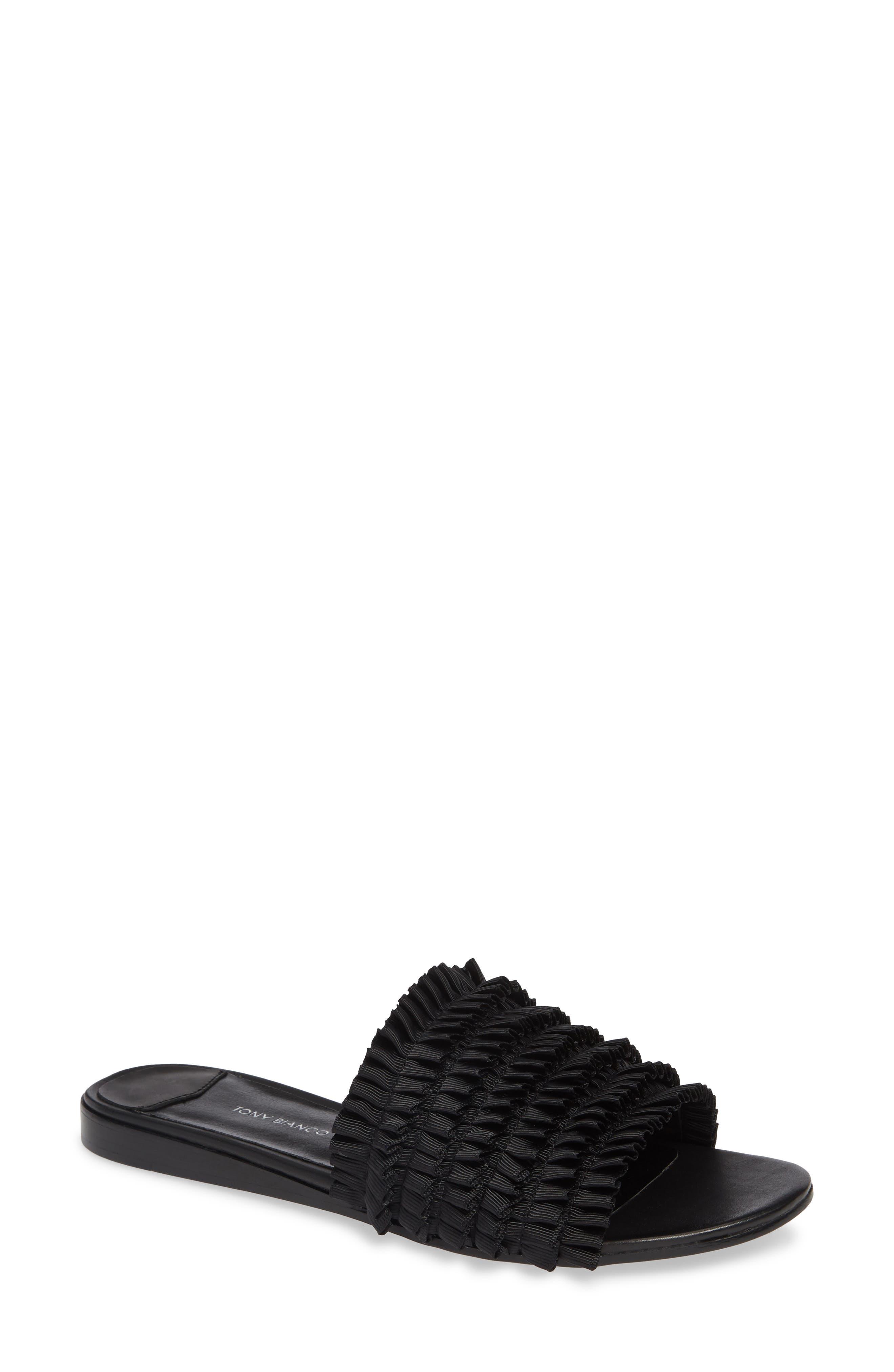 Jerzy Slide Sandal,                         Main,                         color, BLACK FABRIC