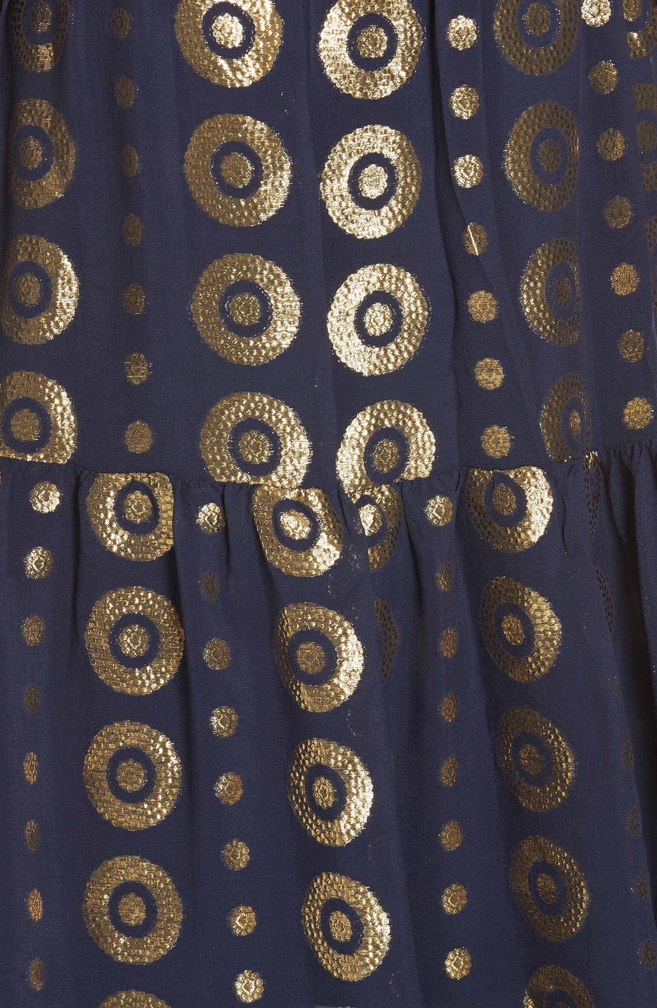 Isabel Fil Coupé Silk Blend Midi Dress,                             Alternate thumbnail 5, color,                             NAVY/ GOLD