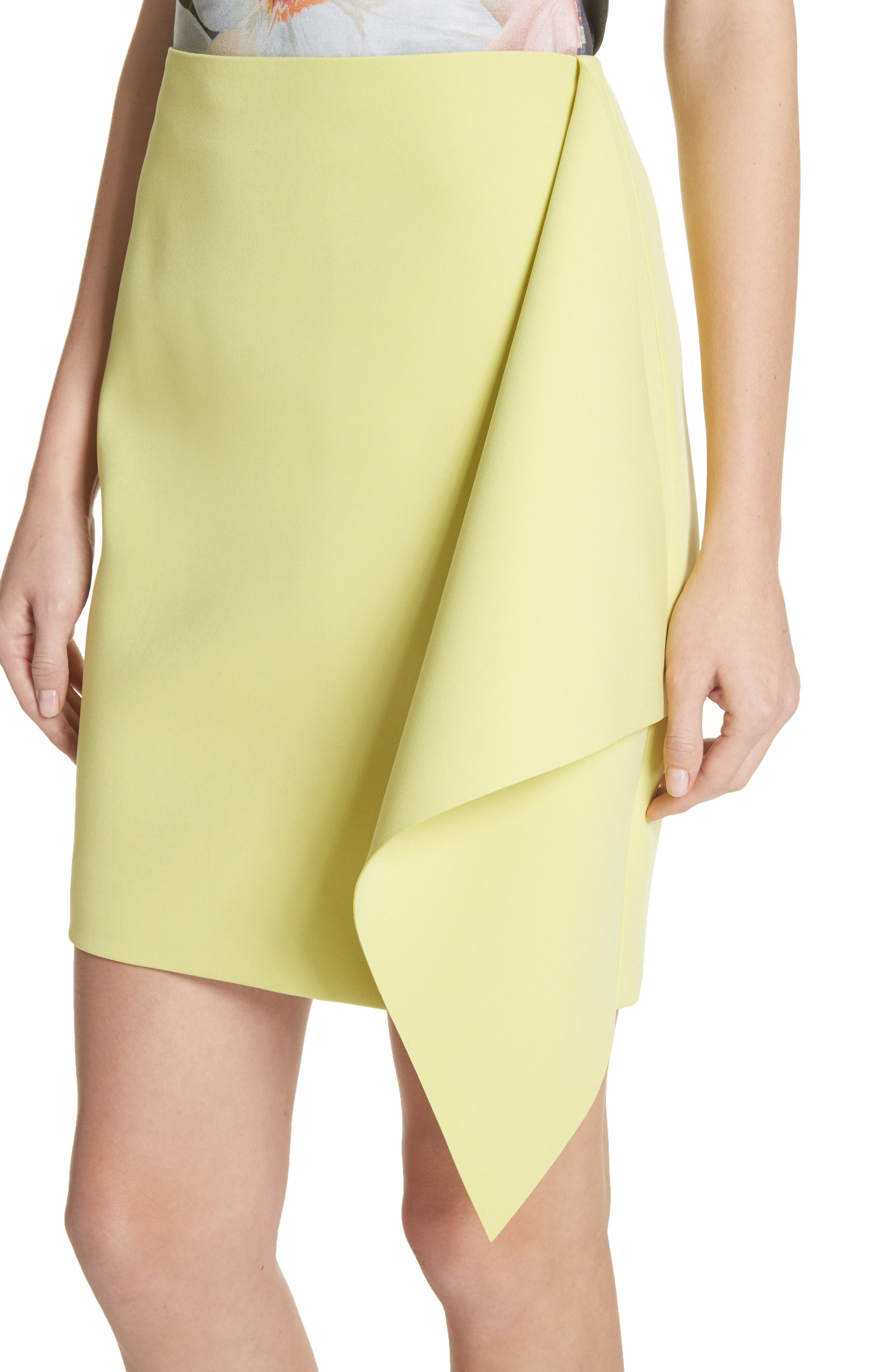 Asymmetrical Frill Pencil Skirt,                             Alternate thumbnail 4, color,                             303