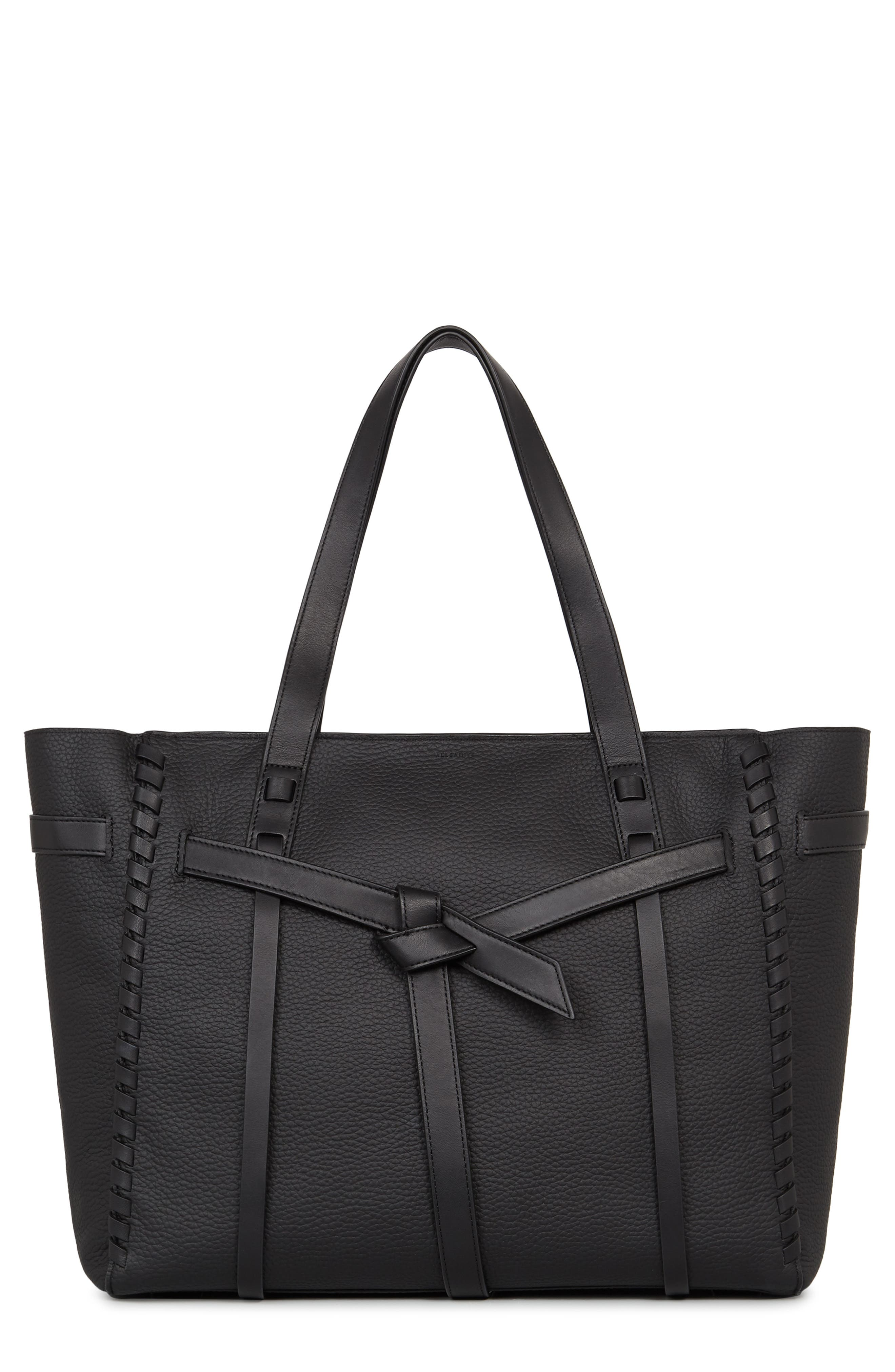 ALLSAINTS Cami East/West Leather Tote, Main, color, 004
