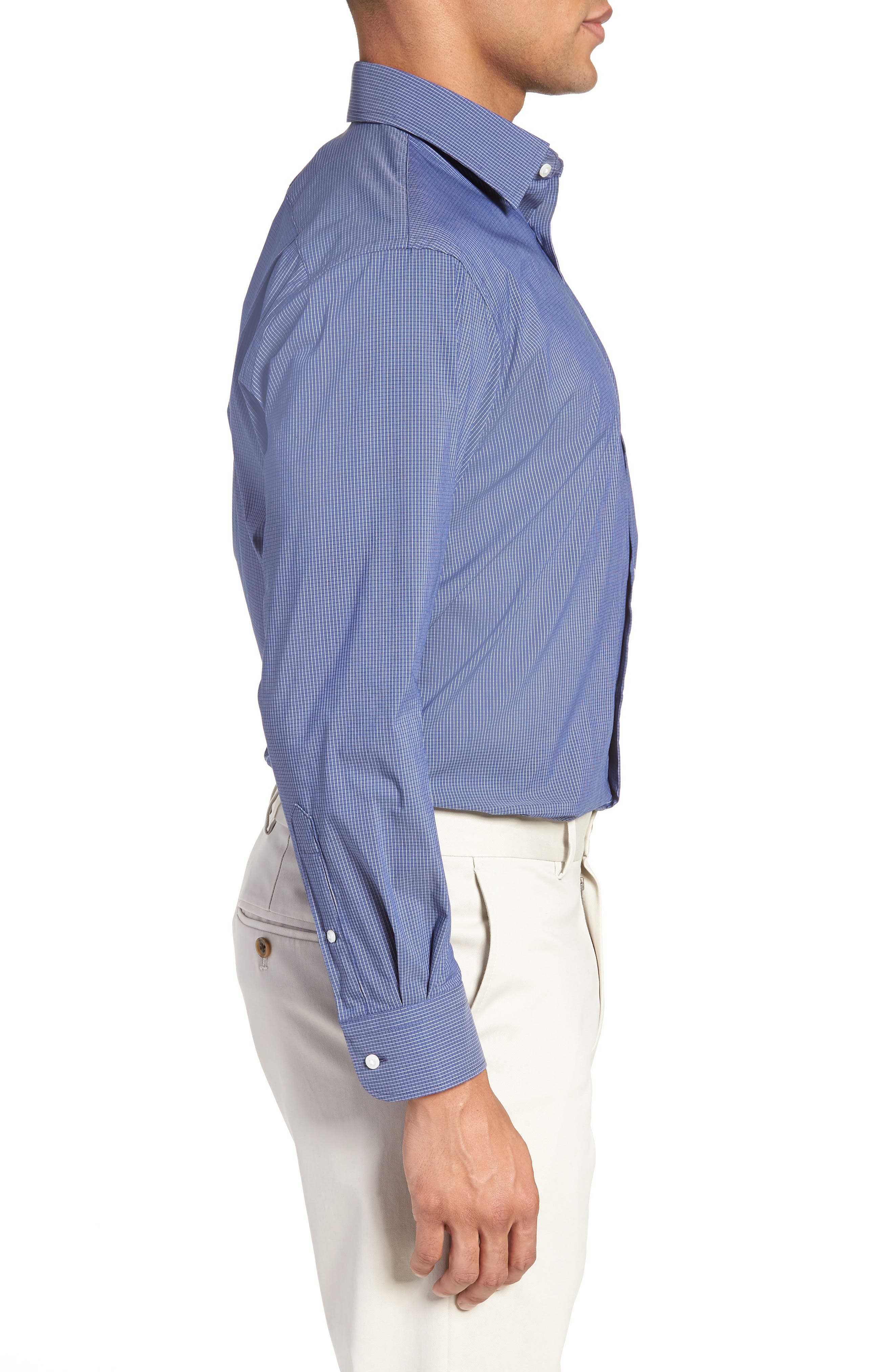Traditional Fit Stretch Check Dress Shirt,                             Alternate thumbnail 7, color,