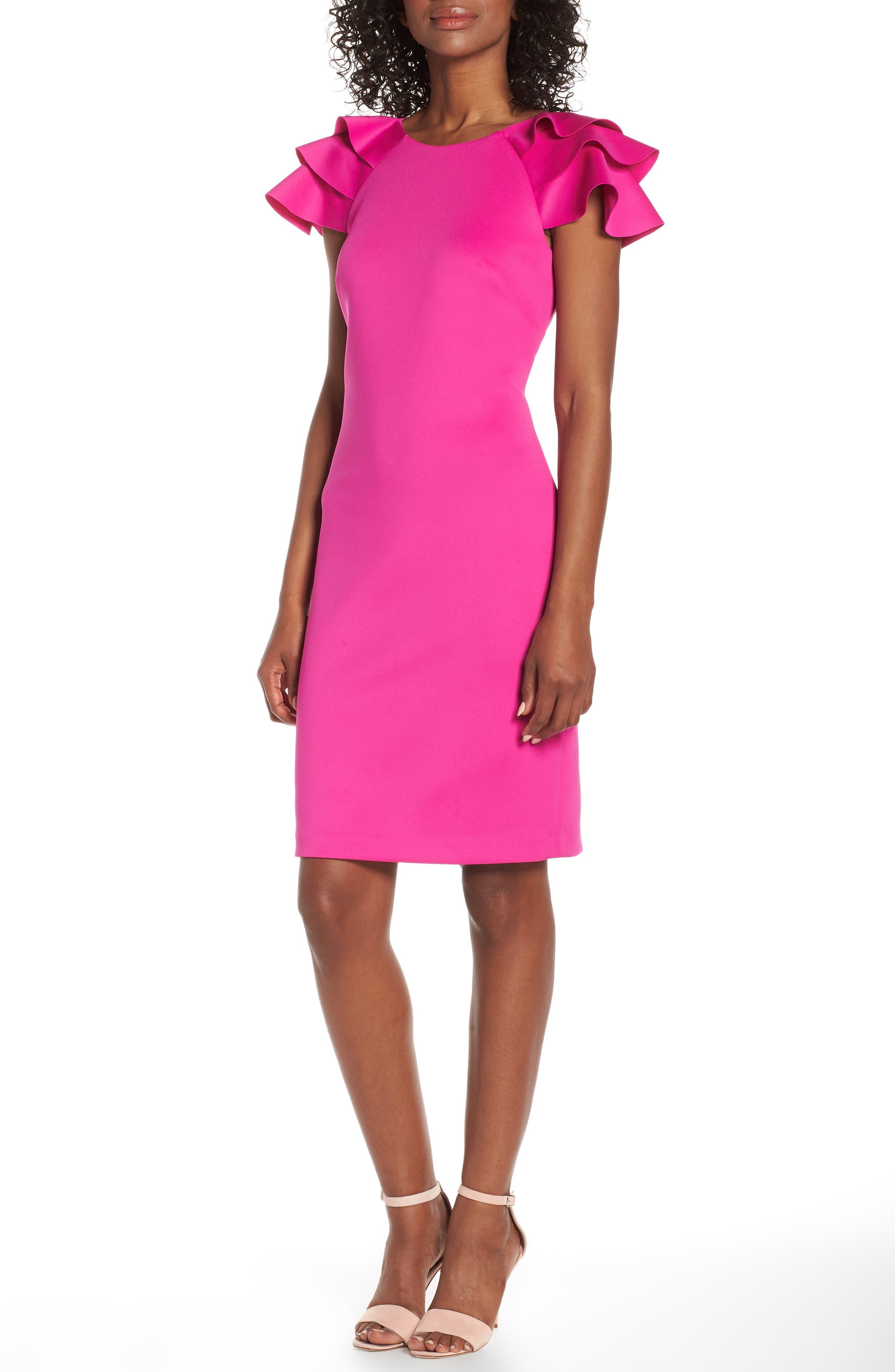 Eliza J Ruffle Sleeve Sheath Dress, Pink