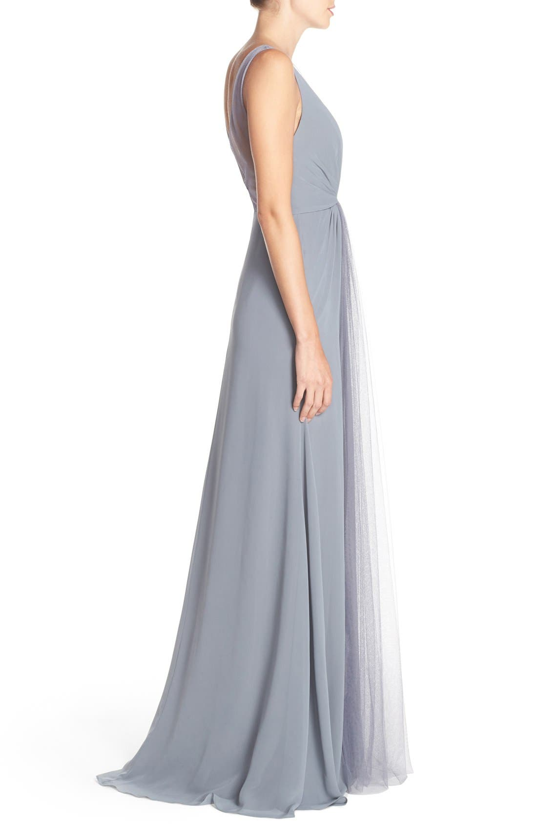 Deep V-Neck Chiffon & Tulle Gown,                             Alternate thumbnail 9, color,