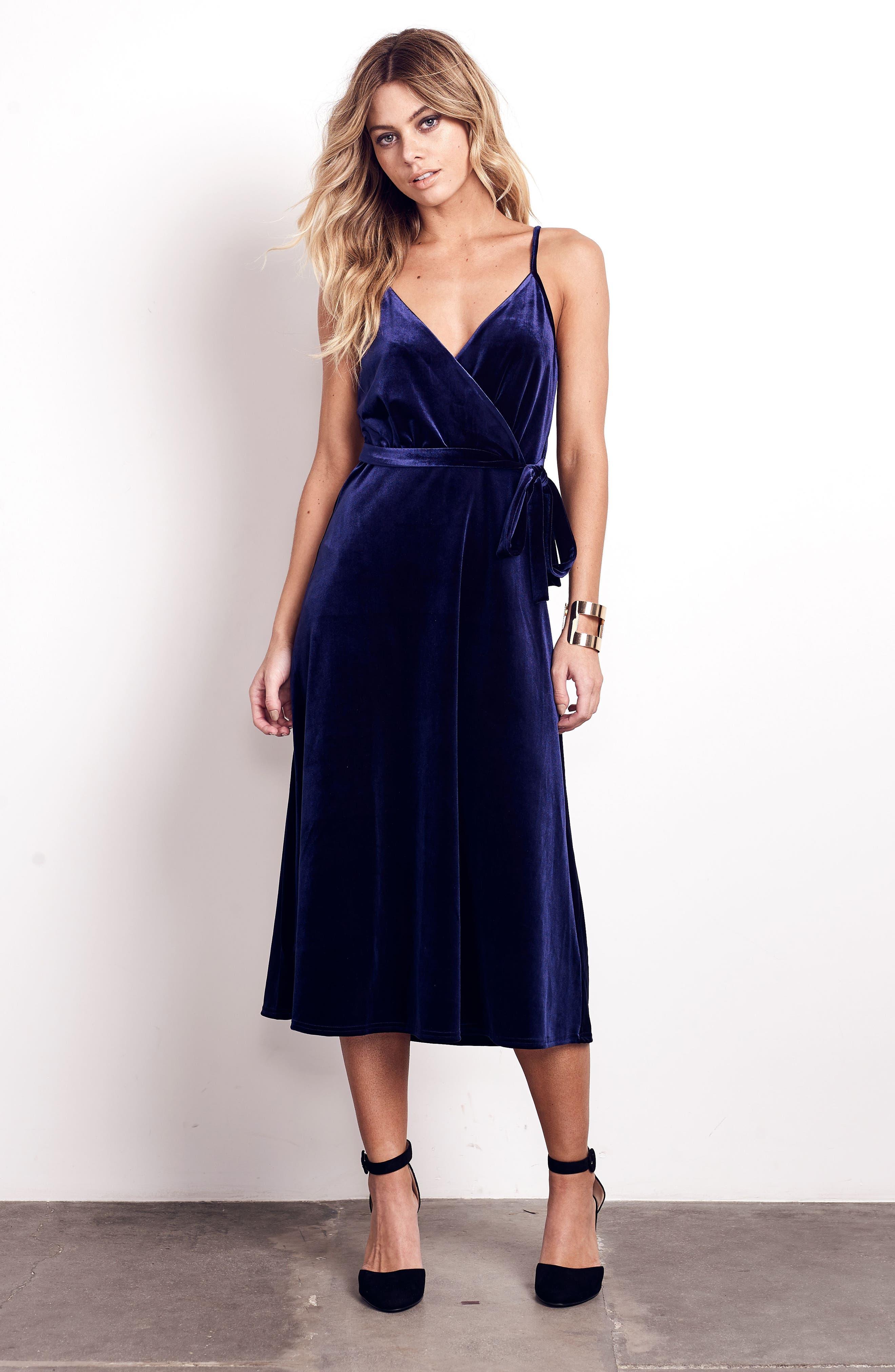 Velvet Faux Wrap Midi Dress,                             Alternate thumbnail 8, color,                             NAVY