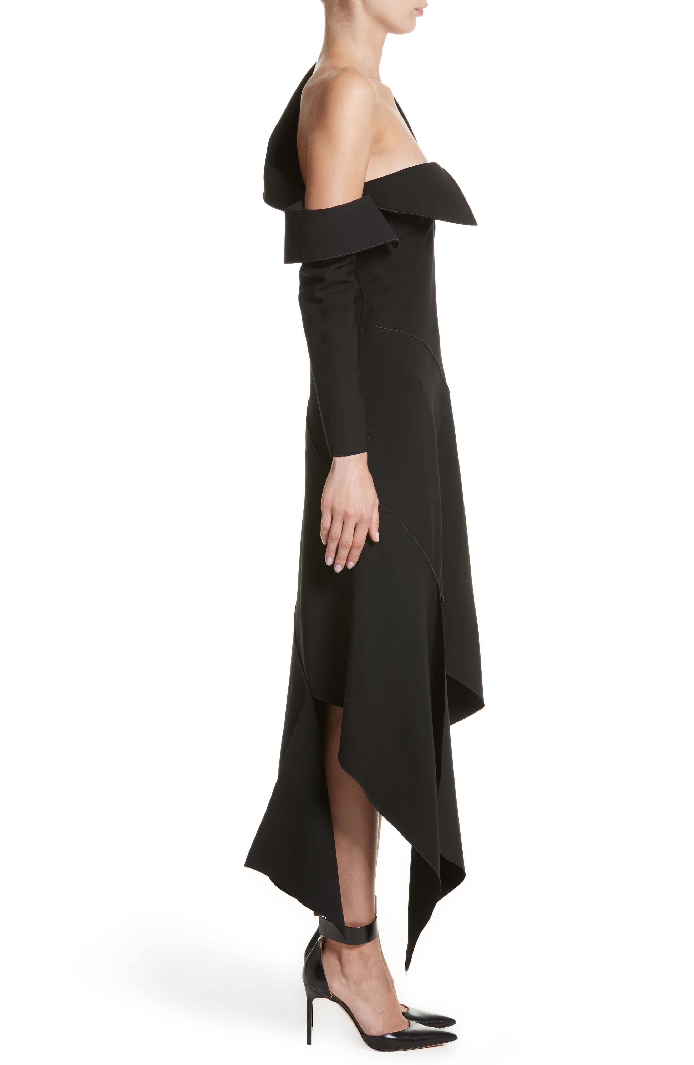 Double-Face Stretch Wool One-Shoulder Dress,                             Alternate thumbnail 3, color,                             001