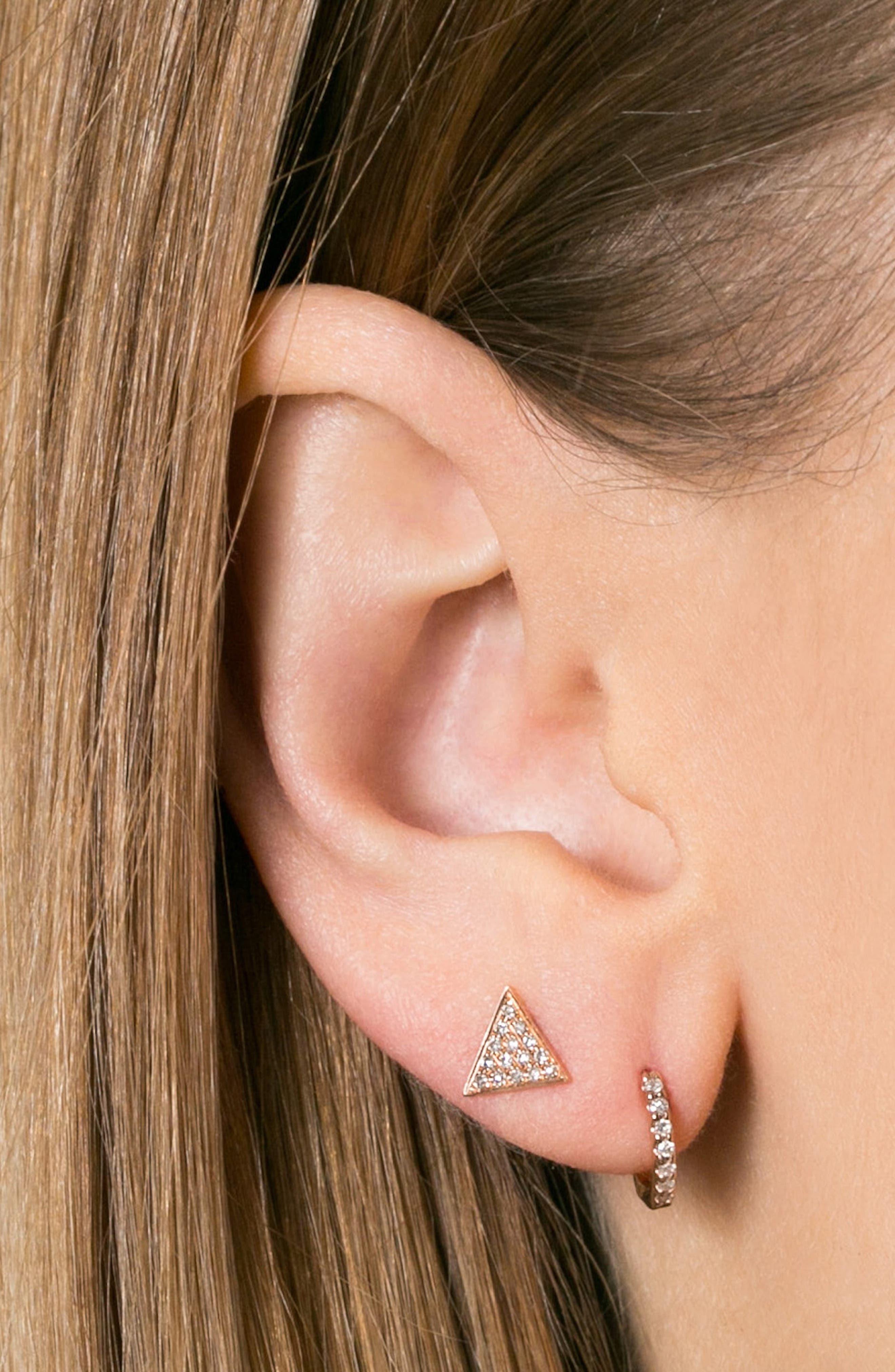 'Emily Sarah' Diamond Pavé Triangle Stud Earrings,                             Alternate thumbnail 2, color,                             YELLOW GOLD
