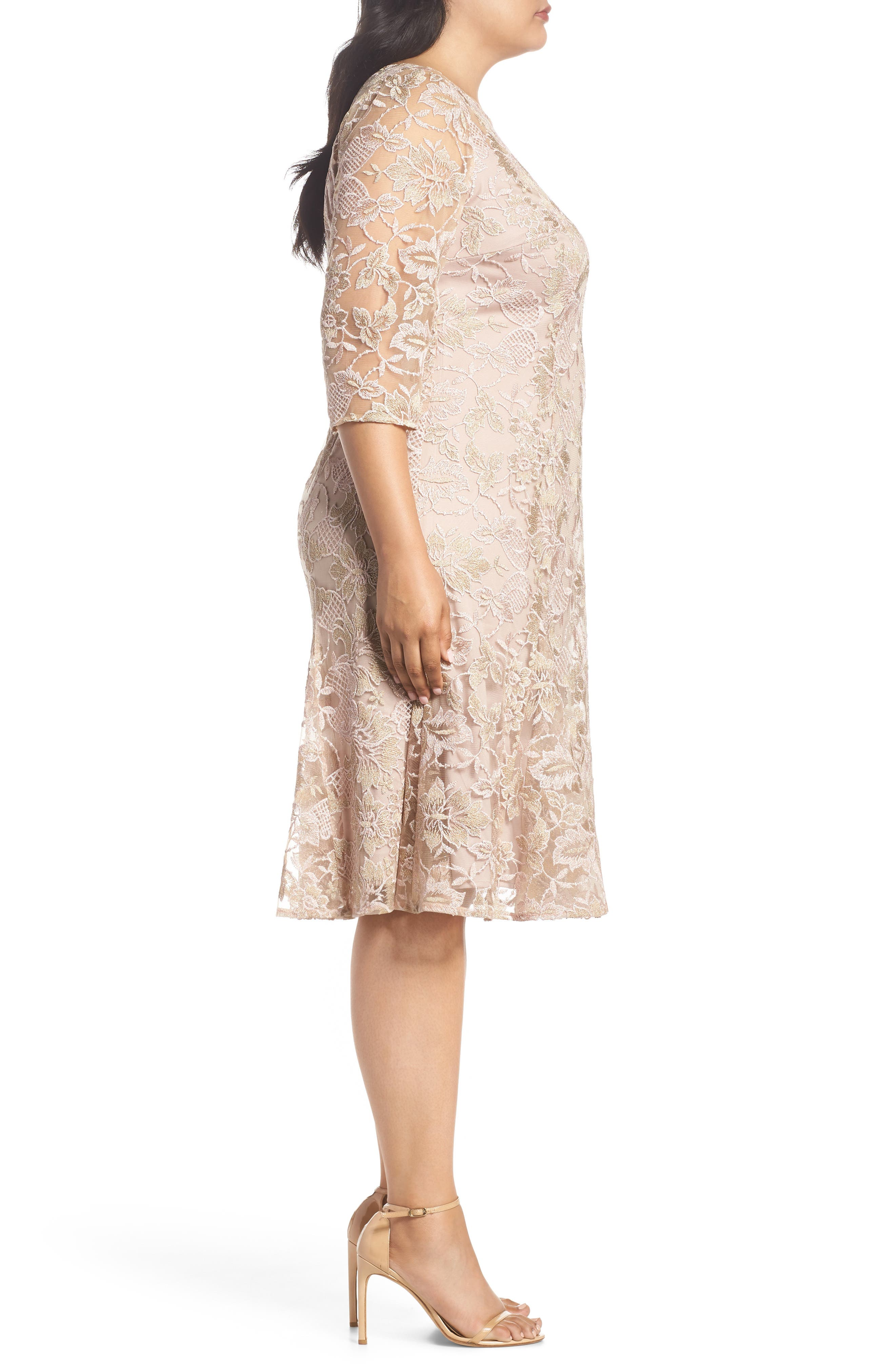 Embroidered Fit & Flare Dress,                             Alternate thumbnail 3, color,                             NUDE MULTI
