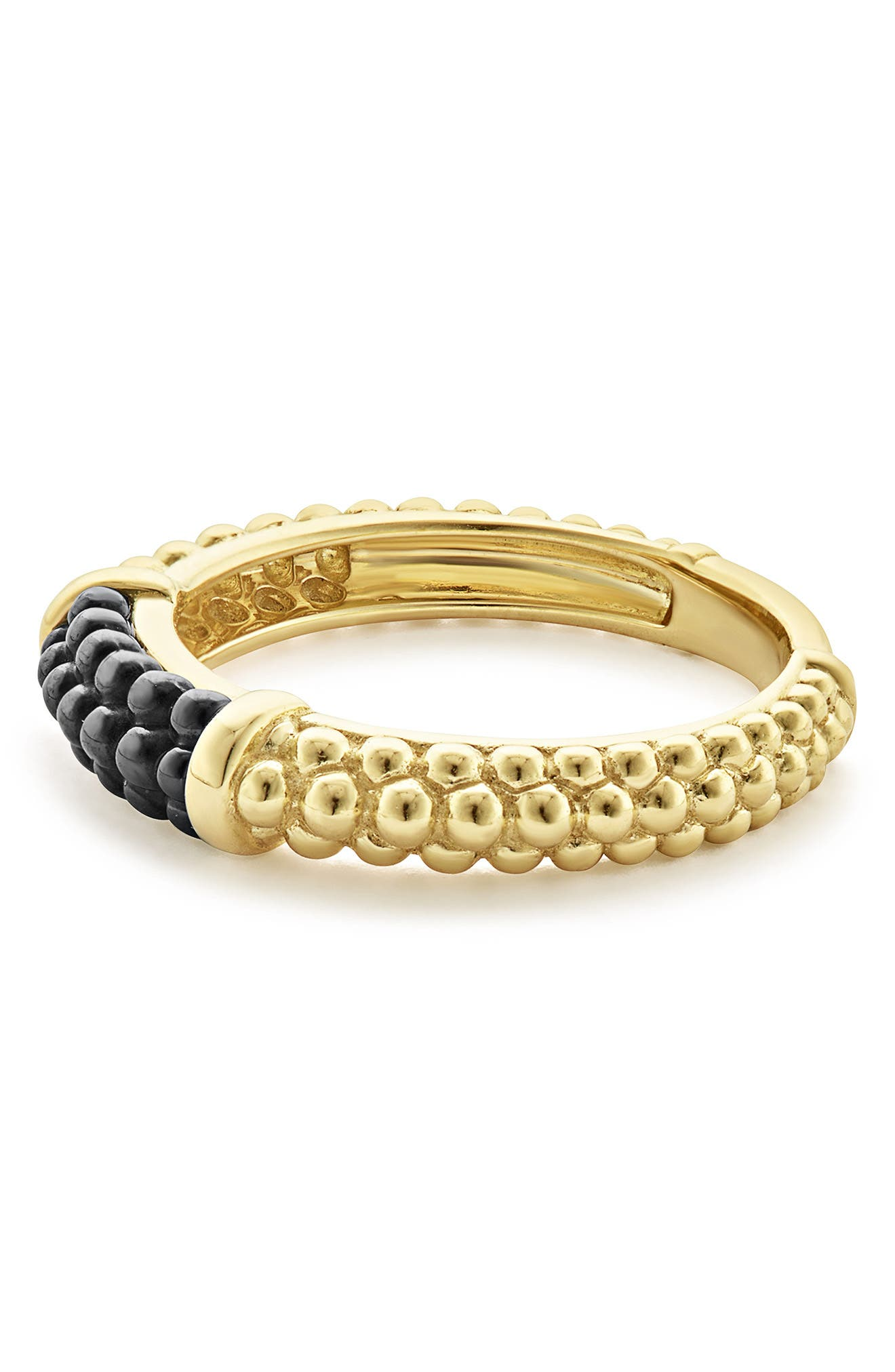 Gold & Black Caviar Stacking Ring,                             Alternate thumbnail 3, color,                             GOLD