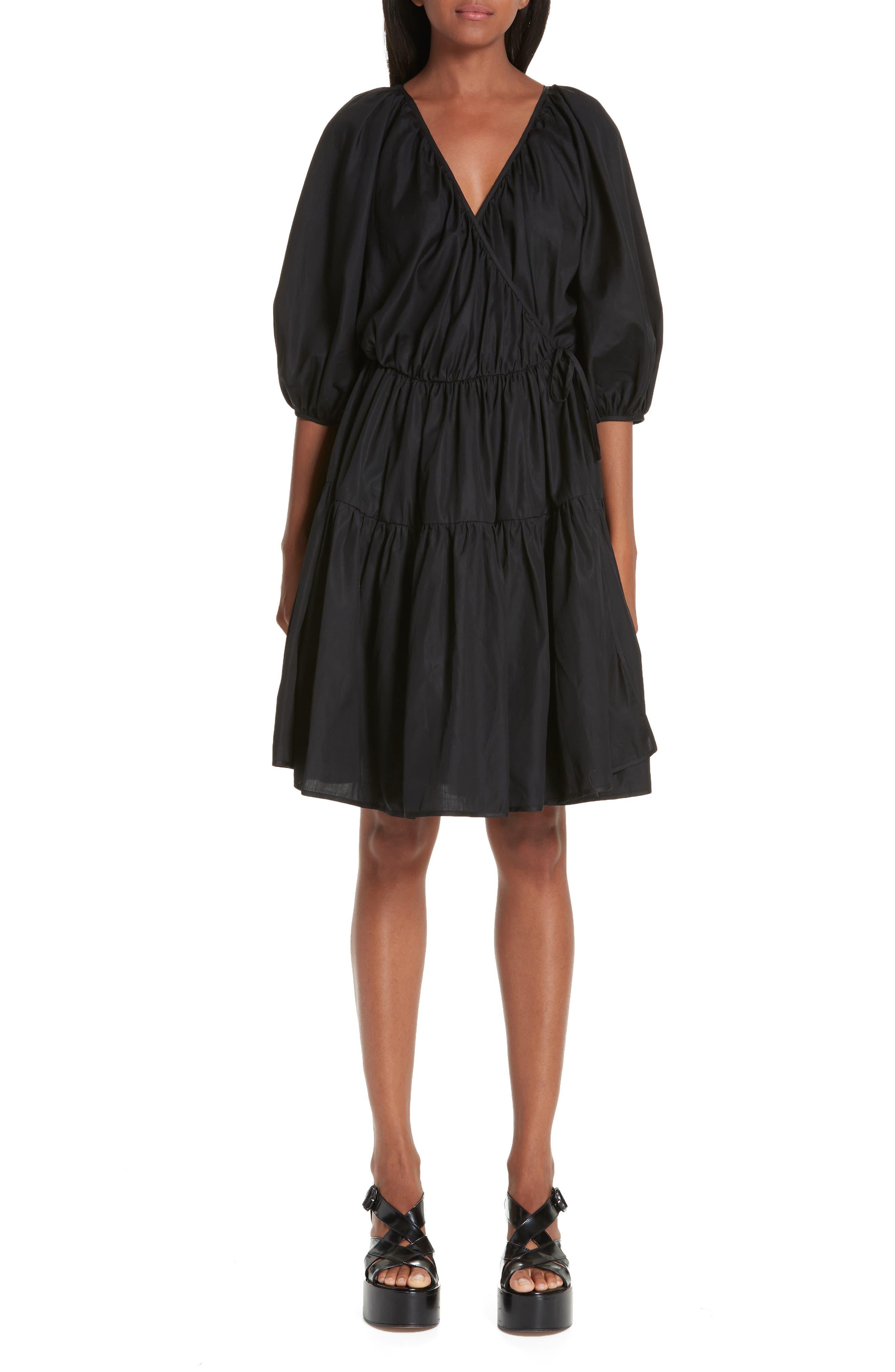 CECILIE BAHNSEN Susannah Wrap Dress in Black