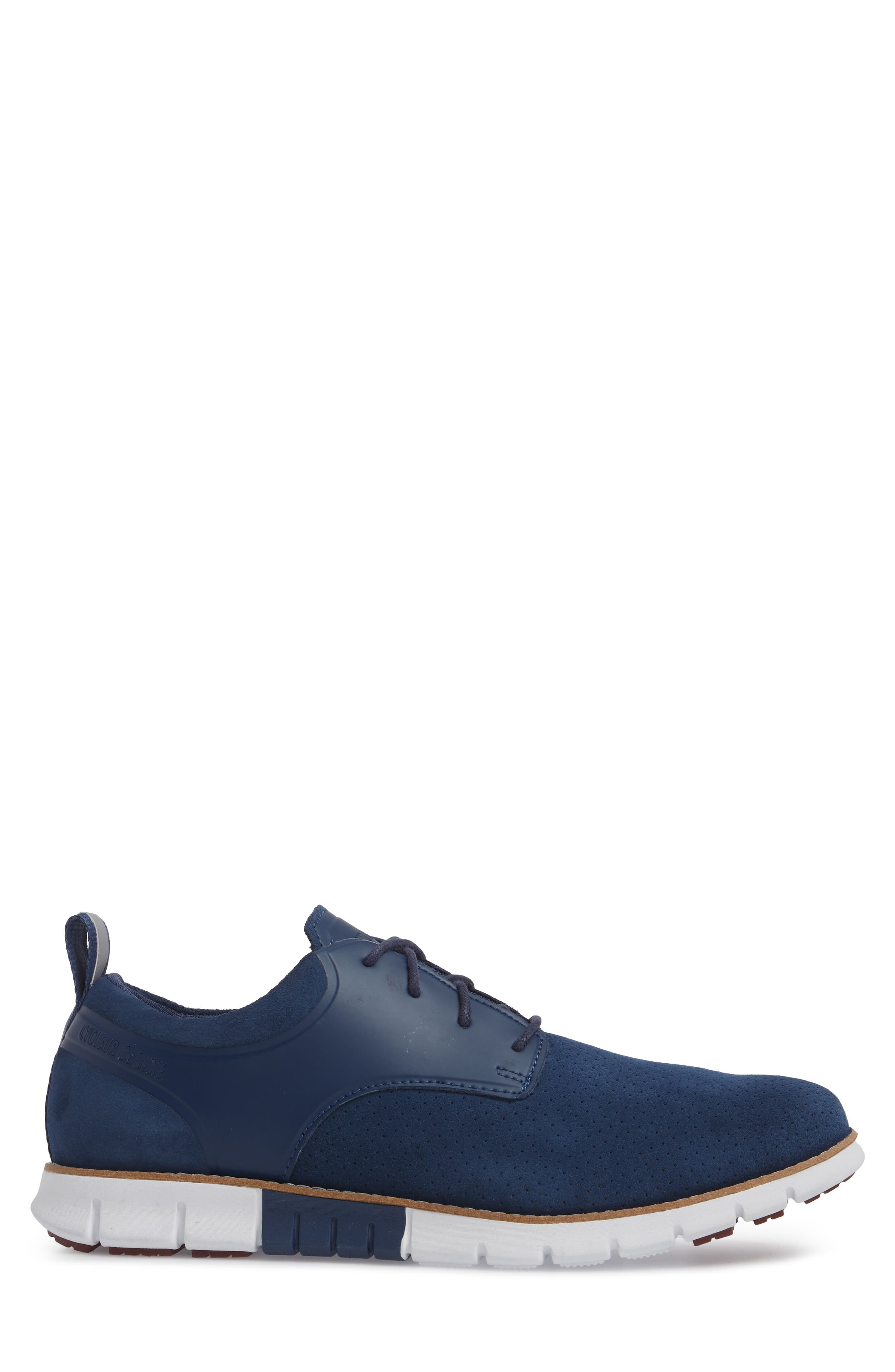 Ridley Perforated Low Top Sneaker,                             Alternate thumbnail 3, color,                             NAVY LEATHER