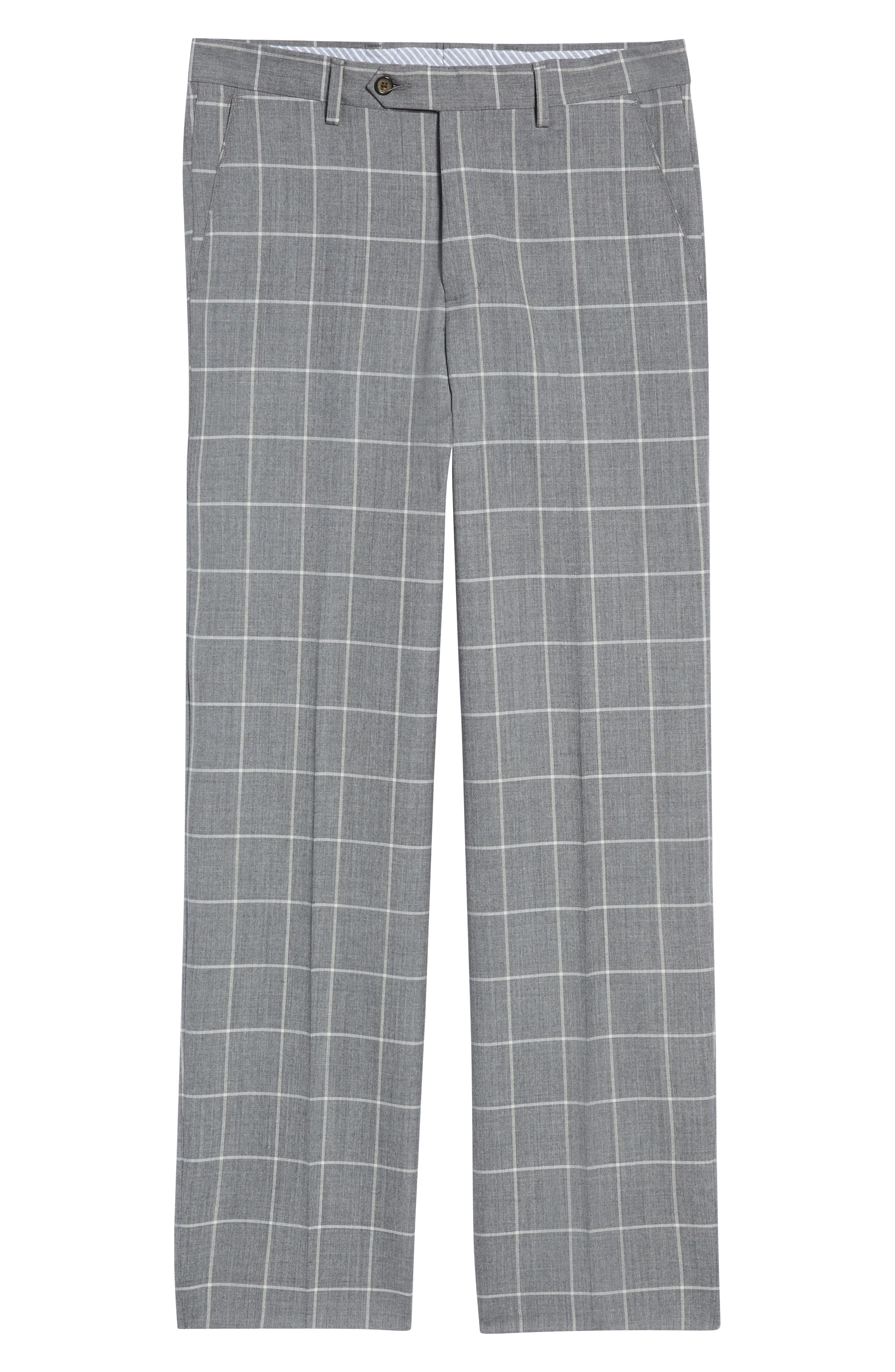 Manufacturing Flat Front Windowpane Wool Trousers,                             Alternate thumbnail 6, color,                             101