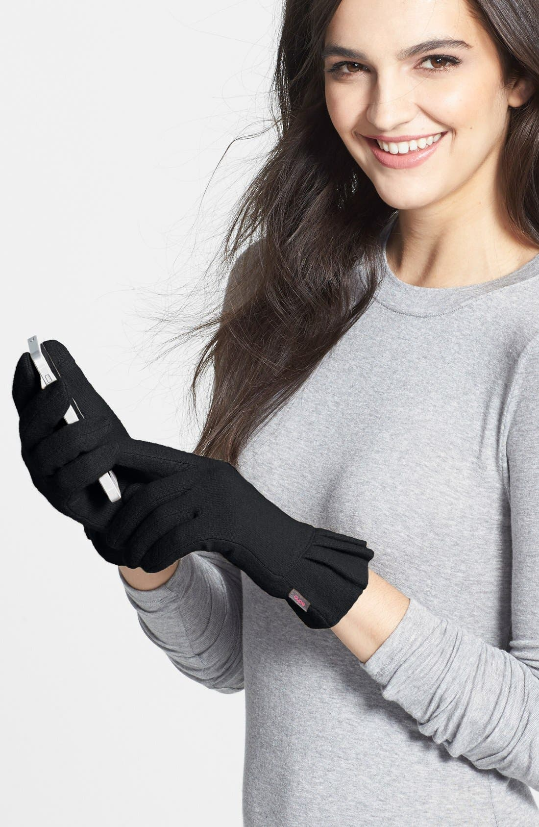 'Touch - Pleated Cuff' Wool Blend Gloves,                             Alternate thumbnail 2, color,                             001