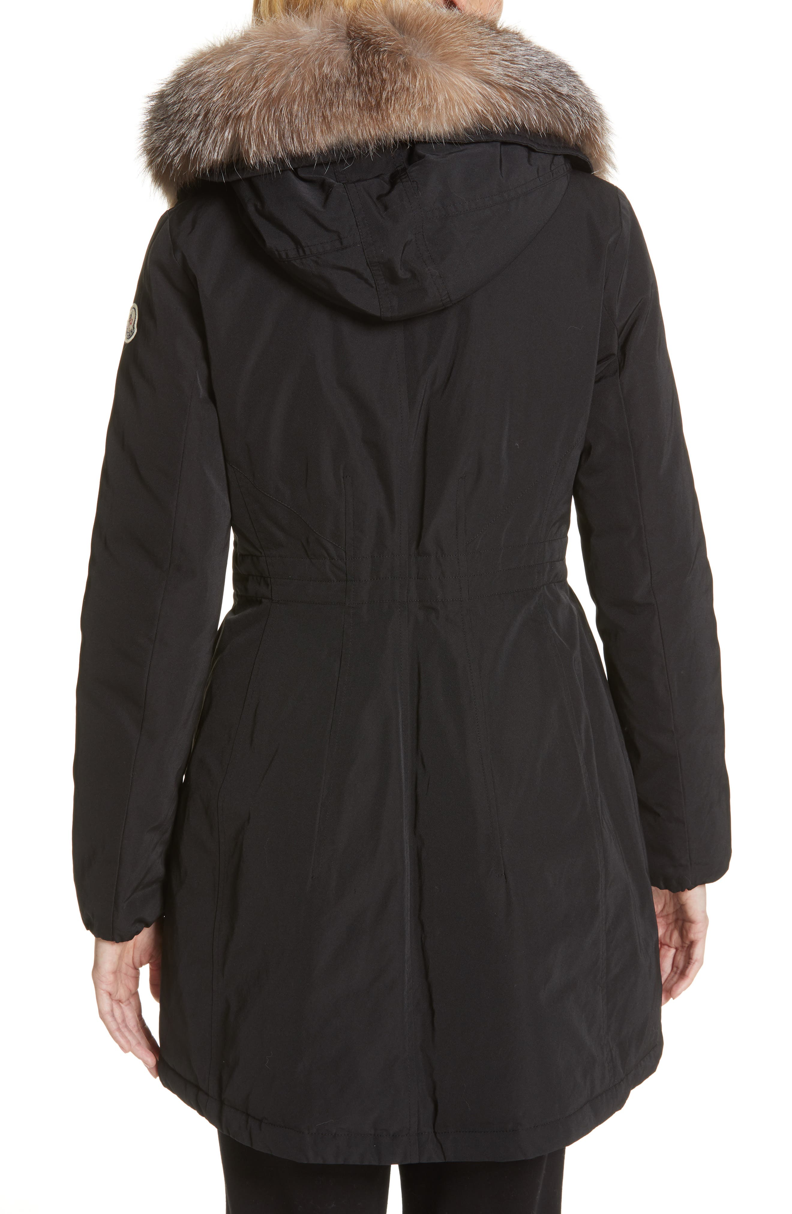 Monticole Hooded Down Coat with Removable Genuine Fox Fur Trim,                             Alternate thumbnail 3, color,                             BLACK