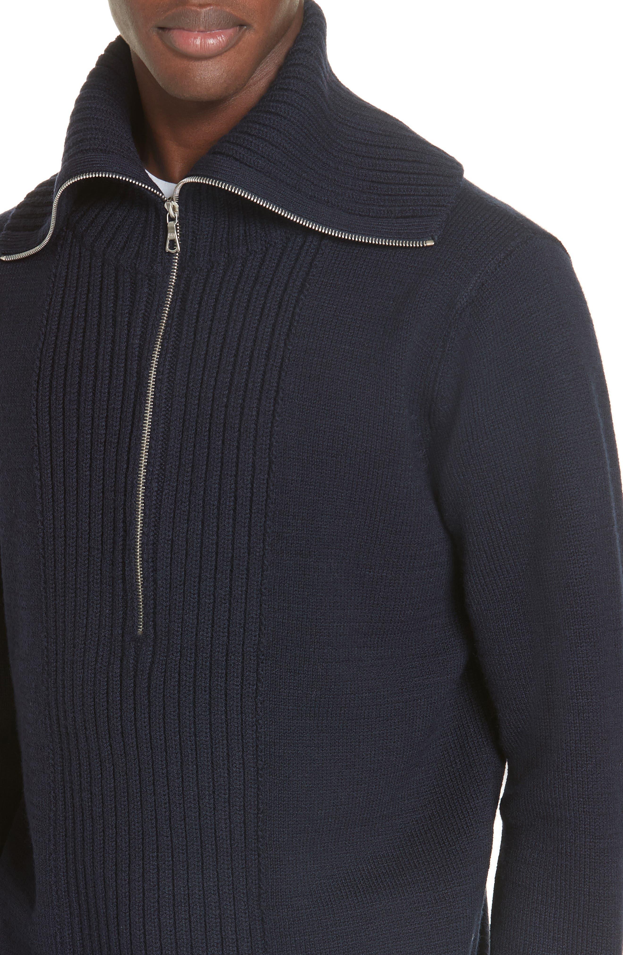 Mikhos Half Zip Sweater,                             Alternate thumbnail 4, color,                             NAVY