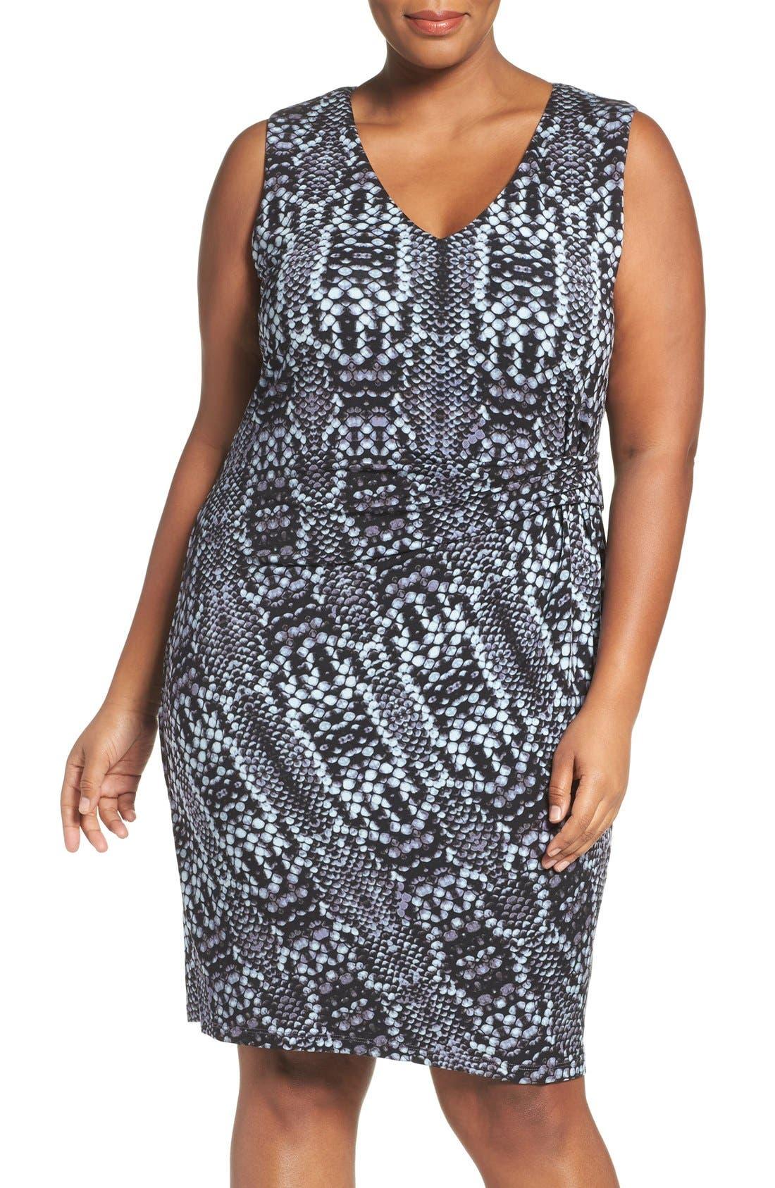 Margaux Twist Front Sheath Dress,                         Main,                         color, PYTHON TINTYPE