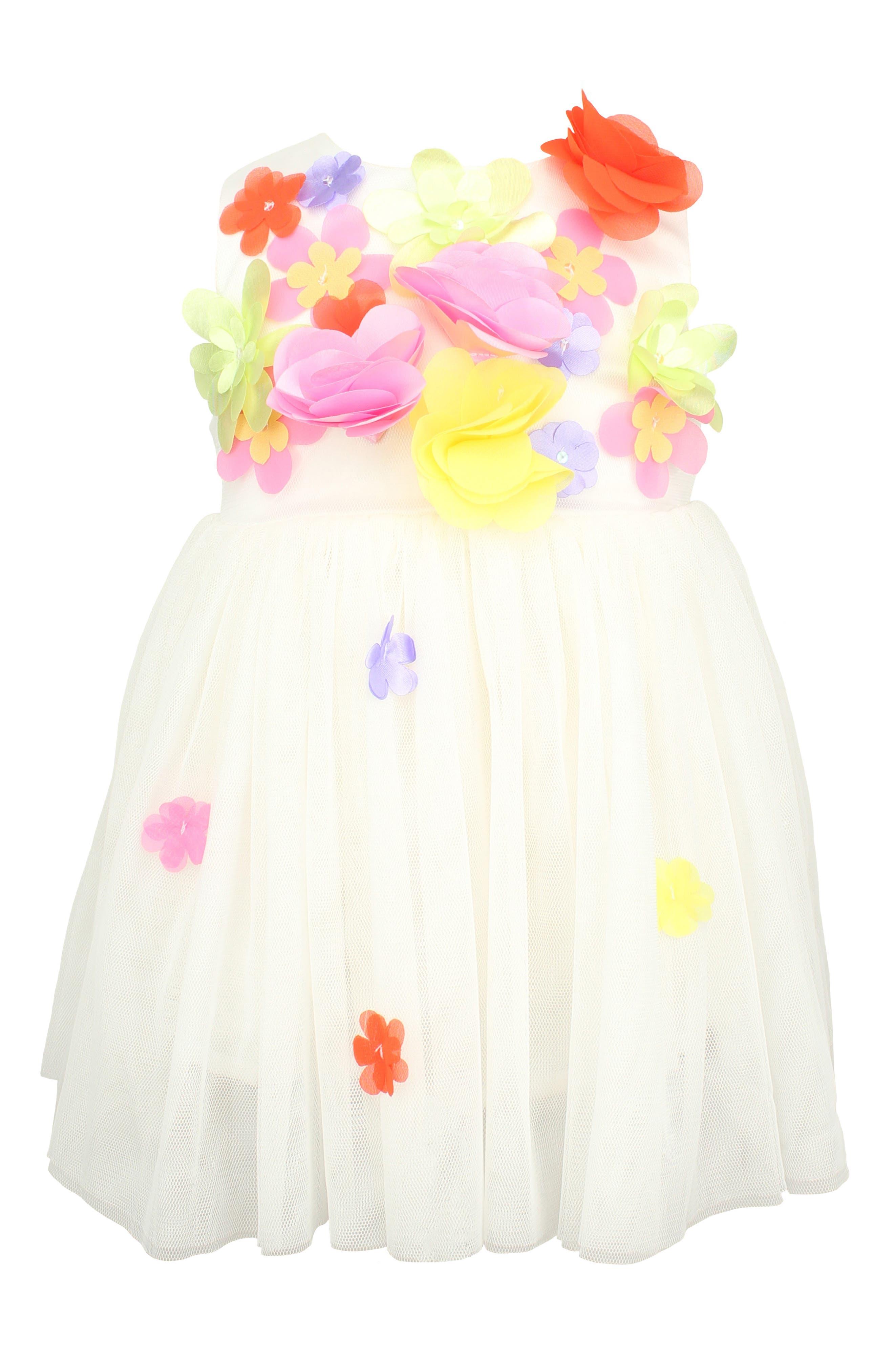 Floral Sleeveless Dress,                             Main thumbnail 1, color,                             WHITE