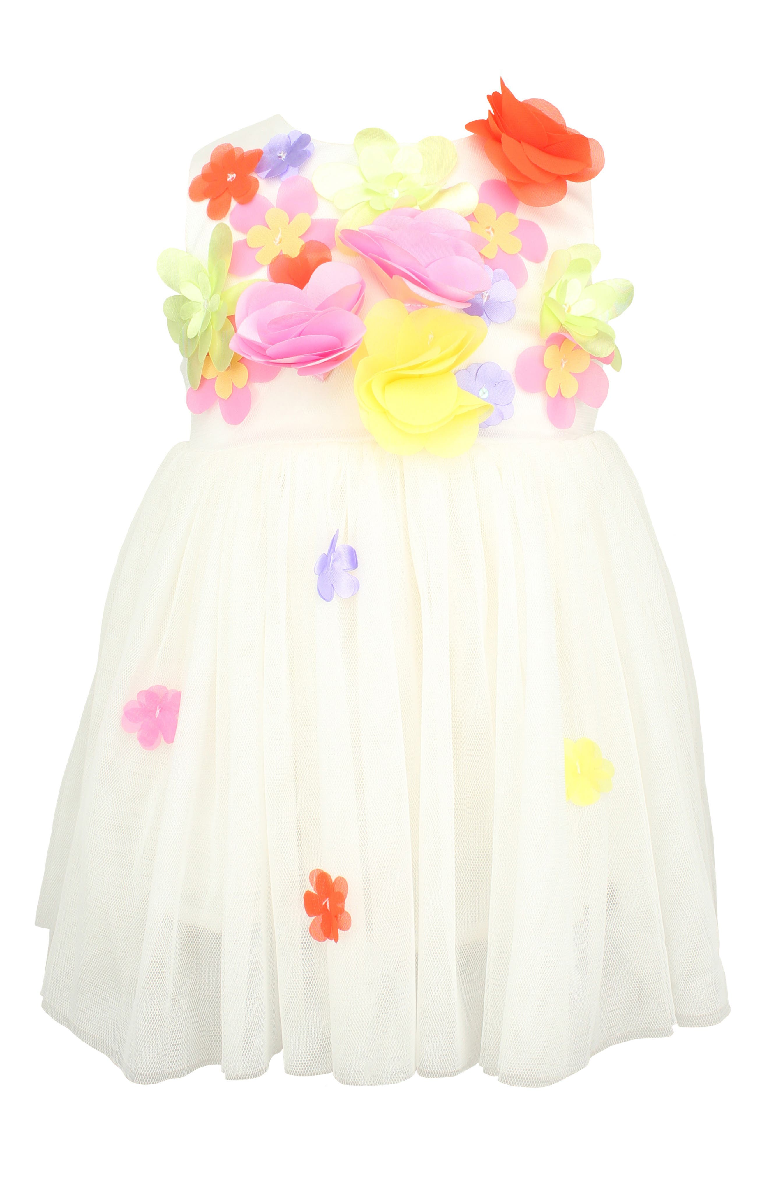 Floral Sleeveless Dress,                         Main,                         color, WHITE