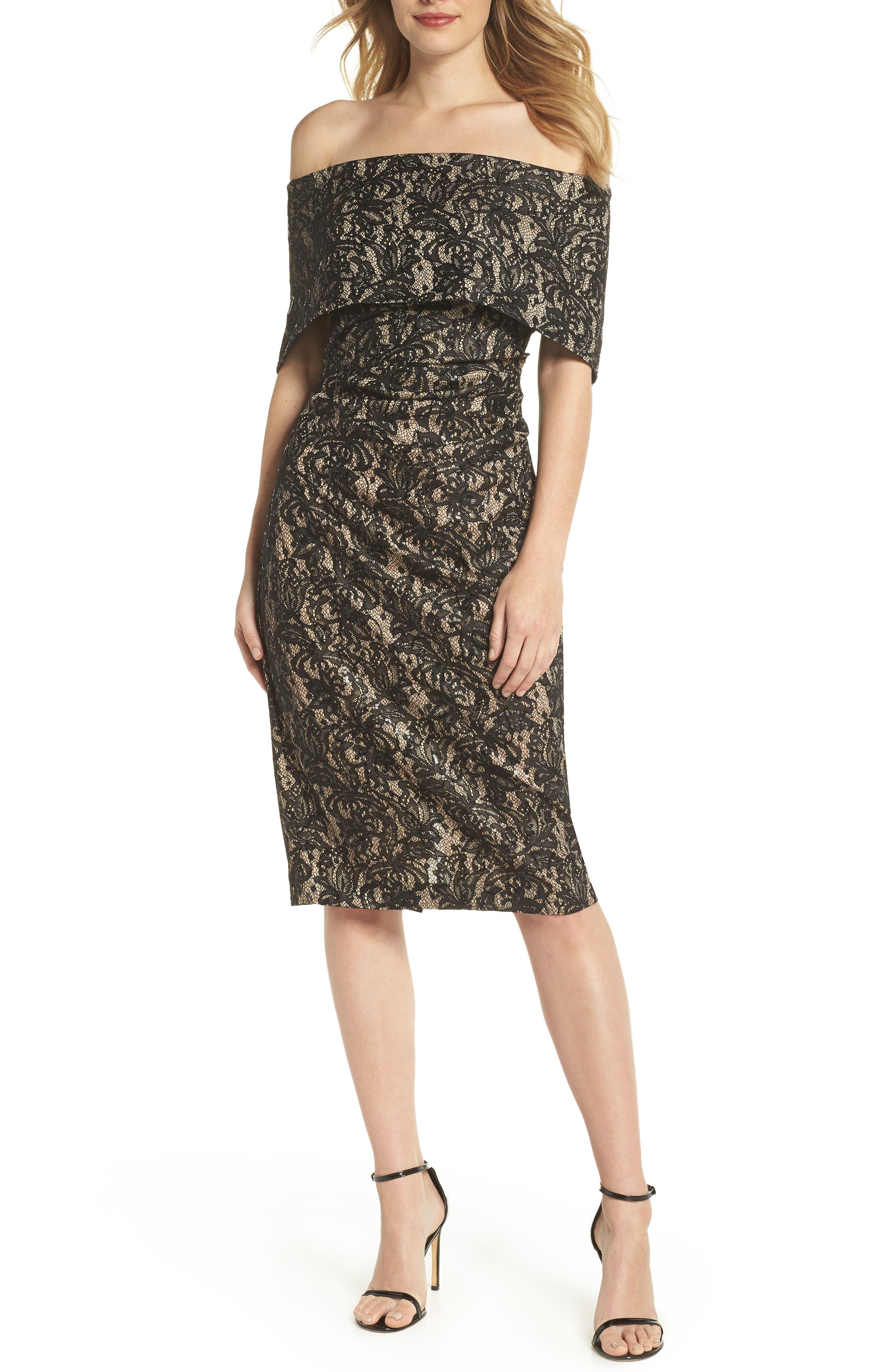 Off the Shoulder Lace Sheath Dress,                             Main thumbnail 1, color,                             BLACK TAN