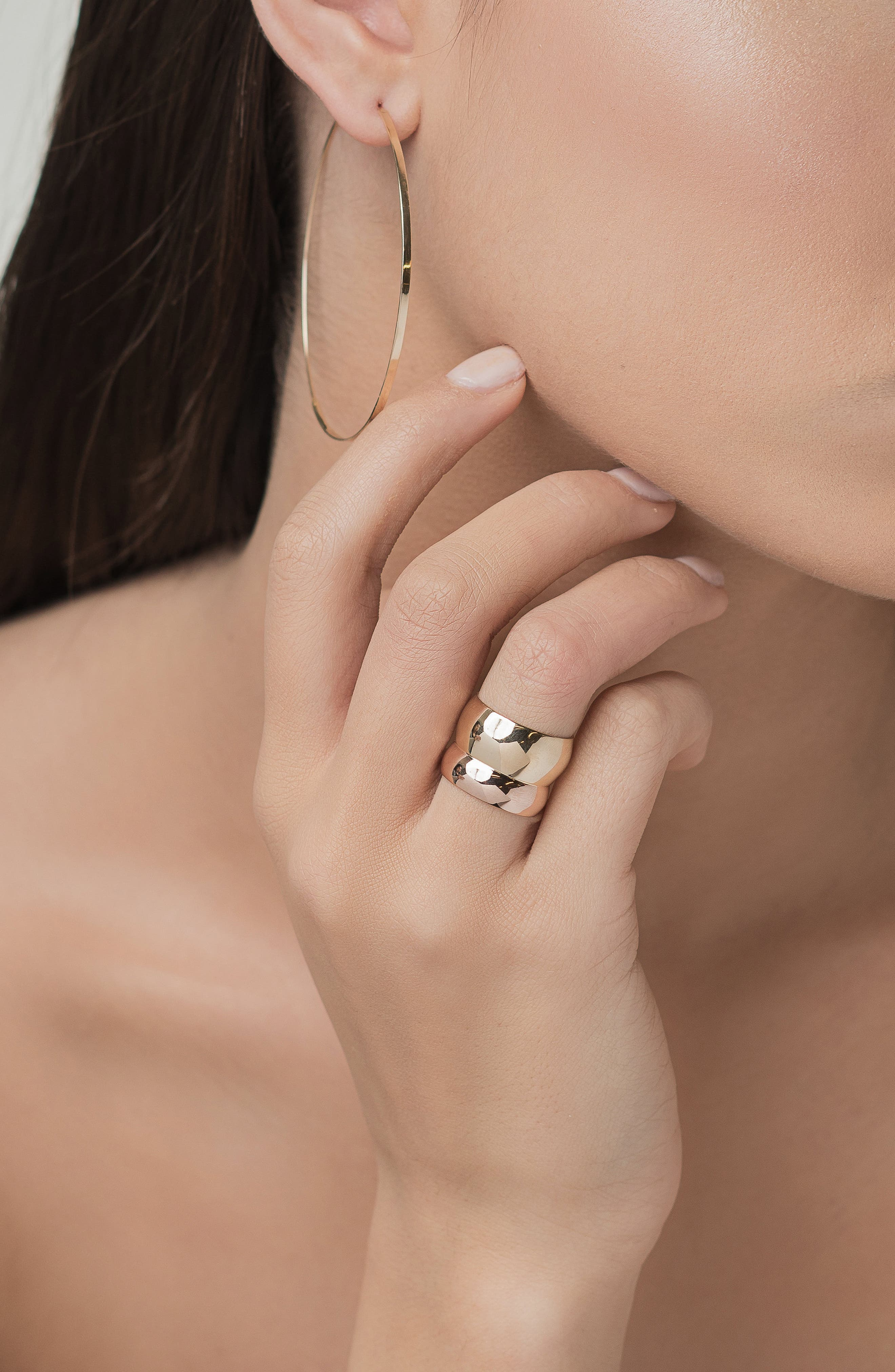 Curve Double Bubble Ring,                             Alternate thumbnail 2, color,                             YELLOW GOLD/ ROSE GOLD