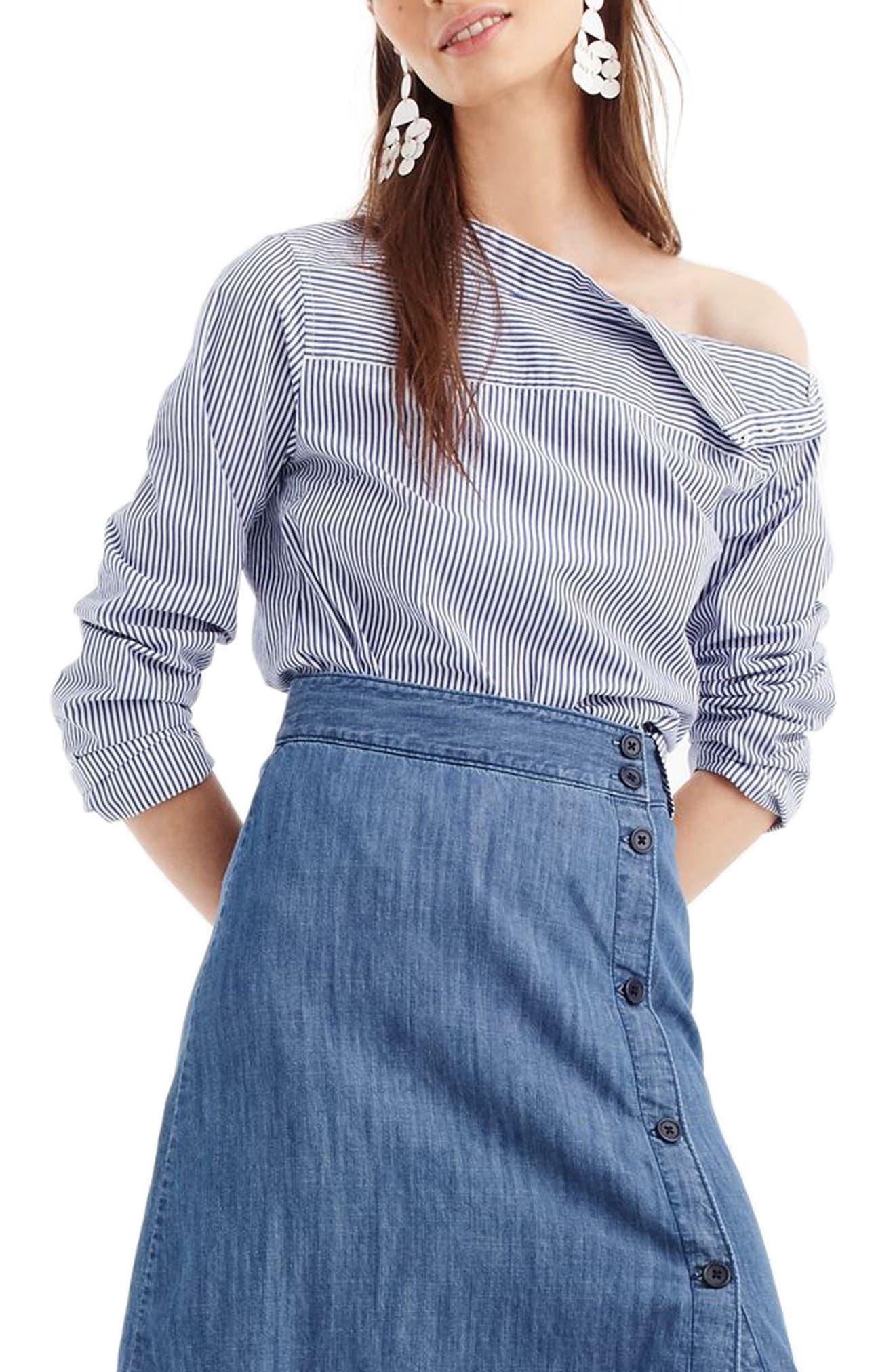 Side Button Chambray Skirt,                             Main thumbnail 1, color,