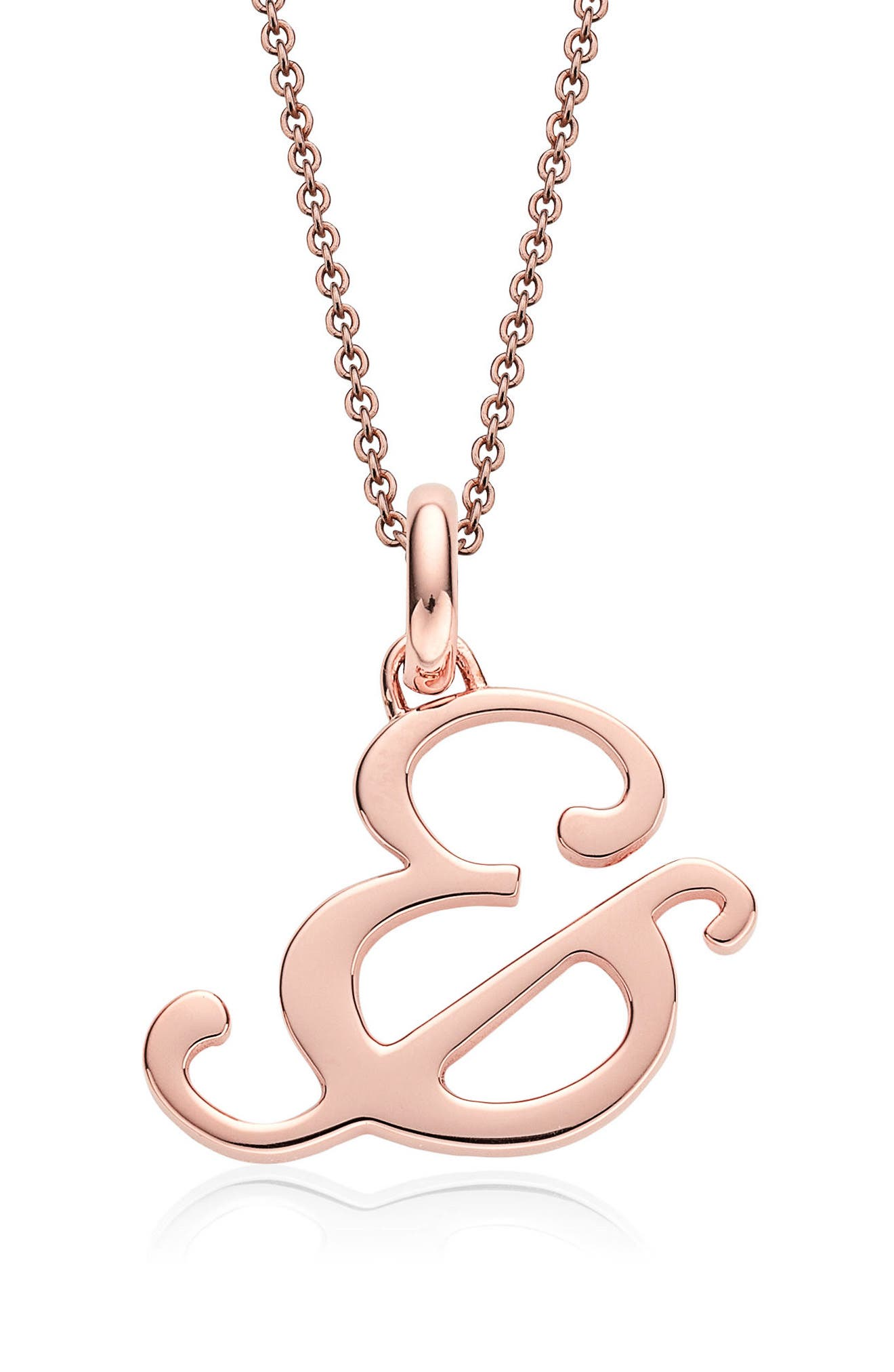 Alphabet Pendant Charm,                             Alternate thumbnail 2, color,                             Rose Gold- &