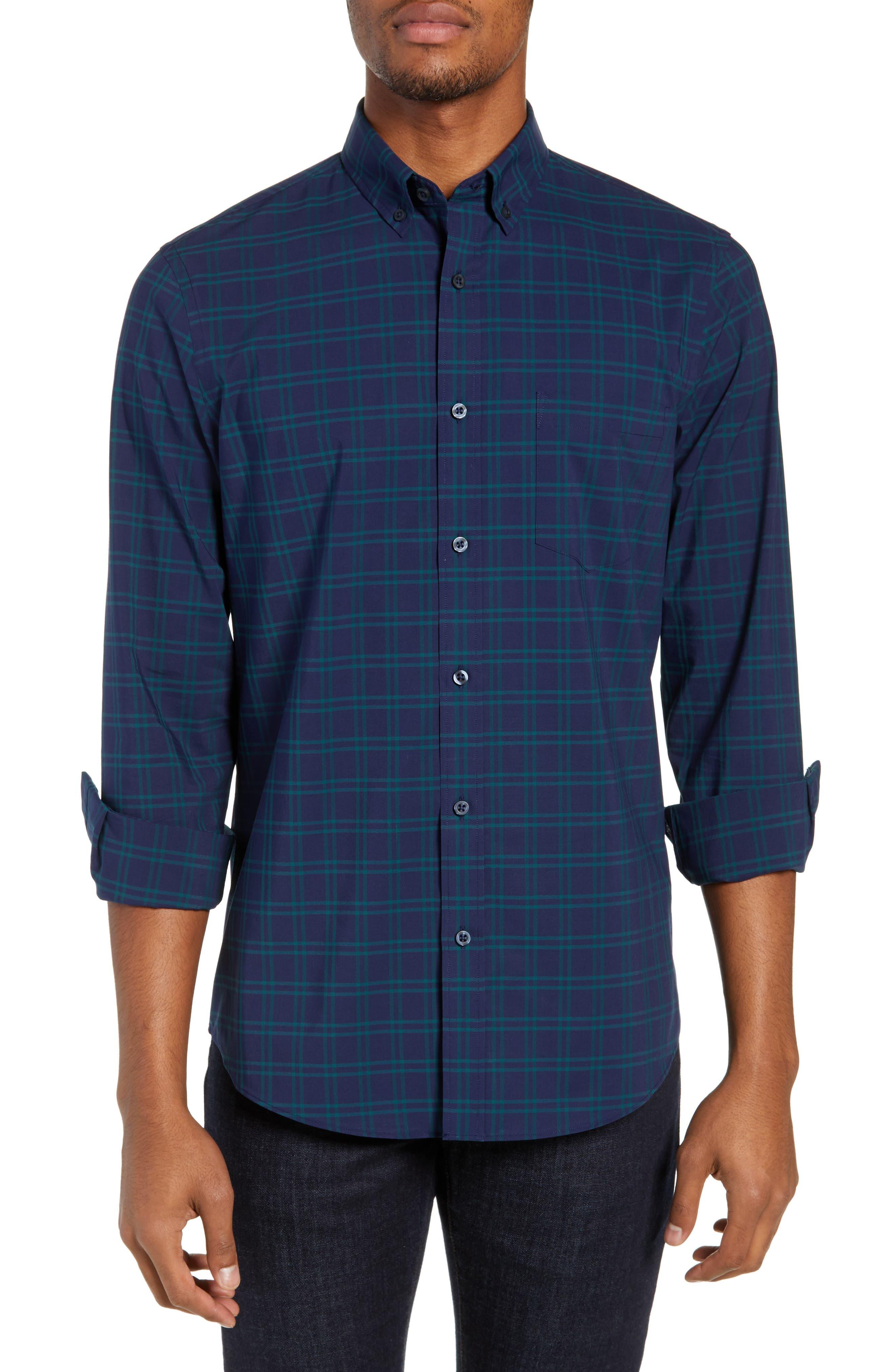 NORDSTROM MEN'S SHOP,                             Tech-Smart Slim Fit Check Sport Shirt,                             Main thumbnail 1, color,                             NAVY IRIS TEAL WINDOWPANE