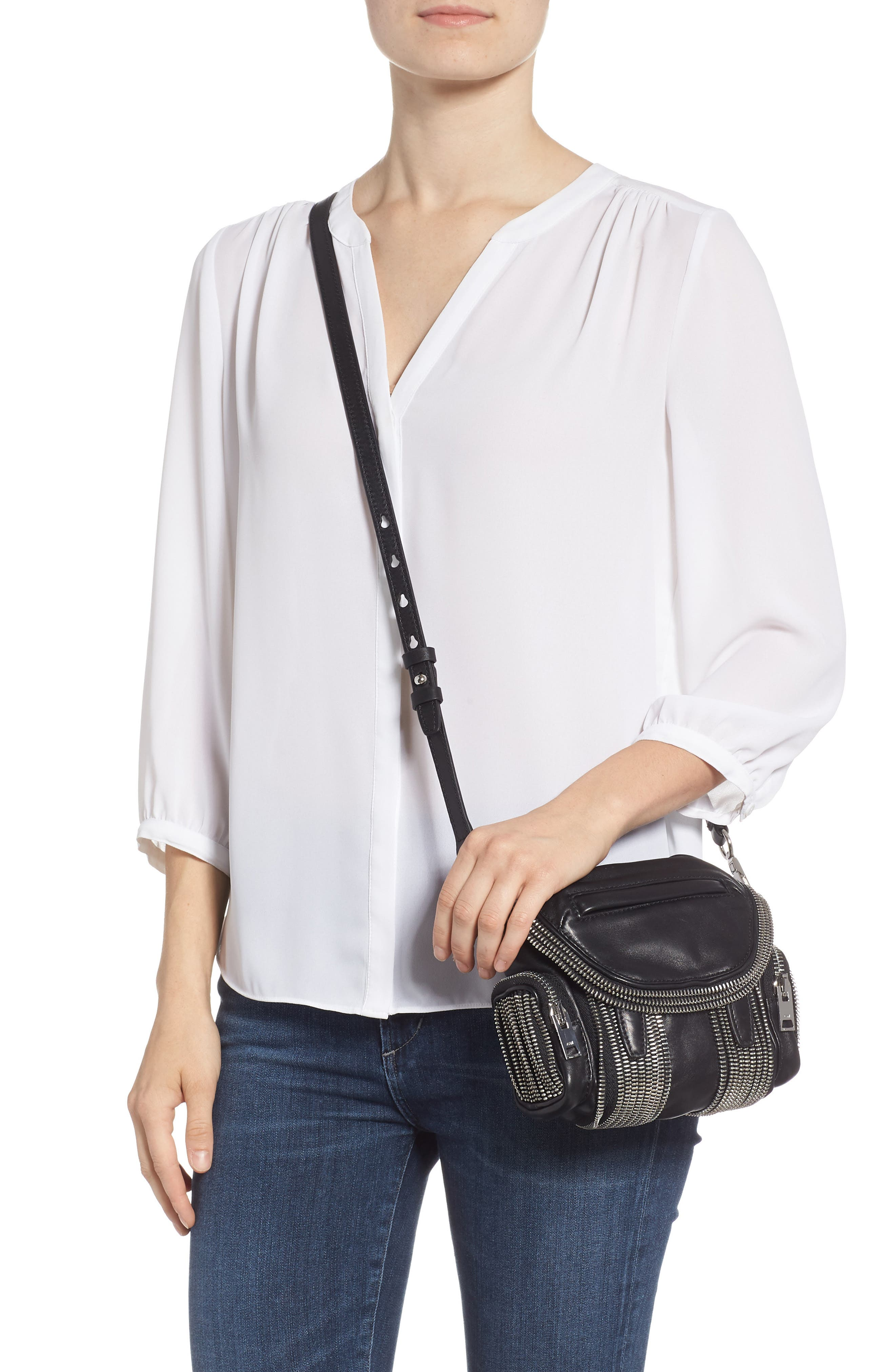 Micro Marti Leather Crossbody Bag,                             Alternate thumbnail 2, color,                             BLACK